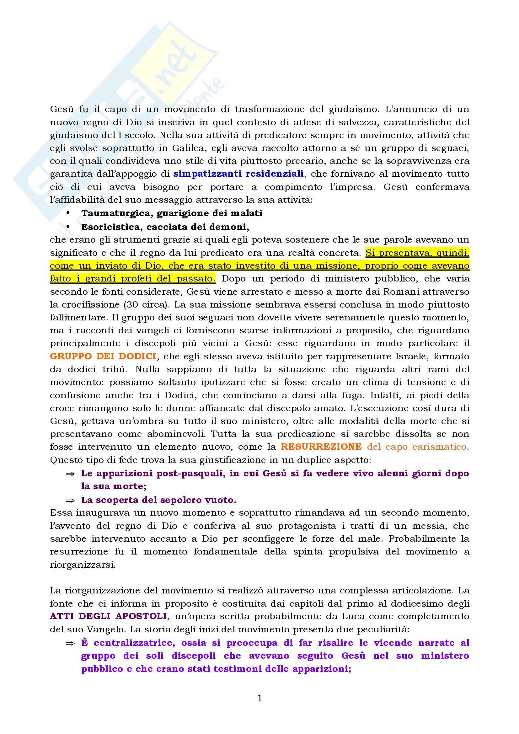 Riassunto esame Storia del cristianesimo, prof. Colombi, libro consigliato I Vangeli apocrifi, Gianotto
