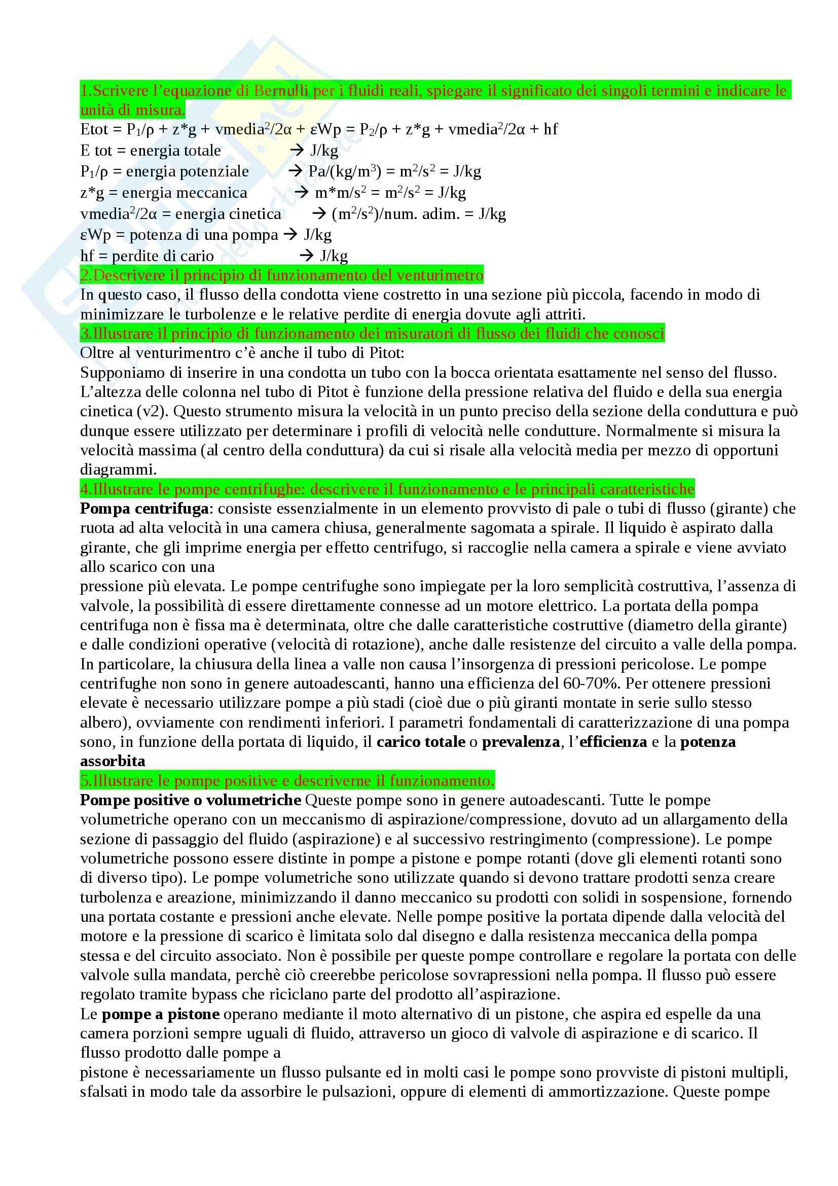 Operazioni unitarie delle tecnologie alimentari - quesiti