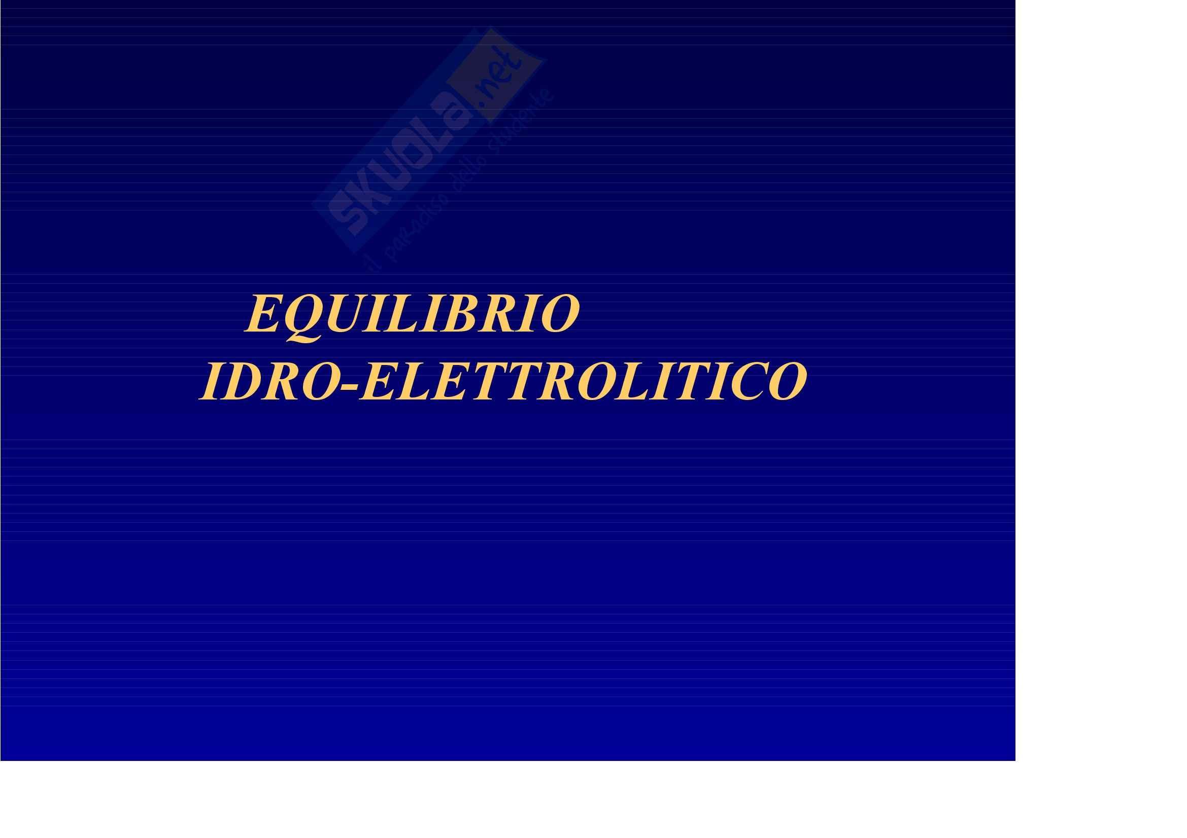Nefrologia e urologia – Equilibrio idro elettrolitico