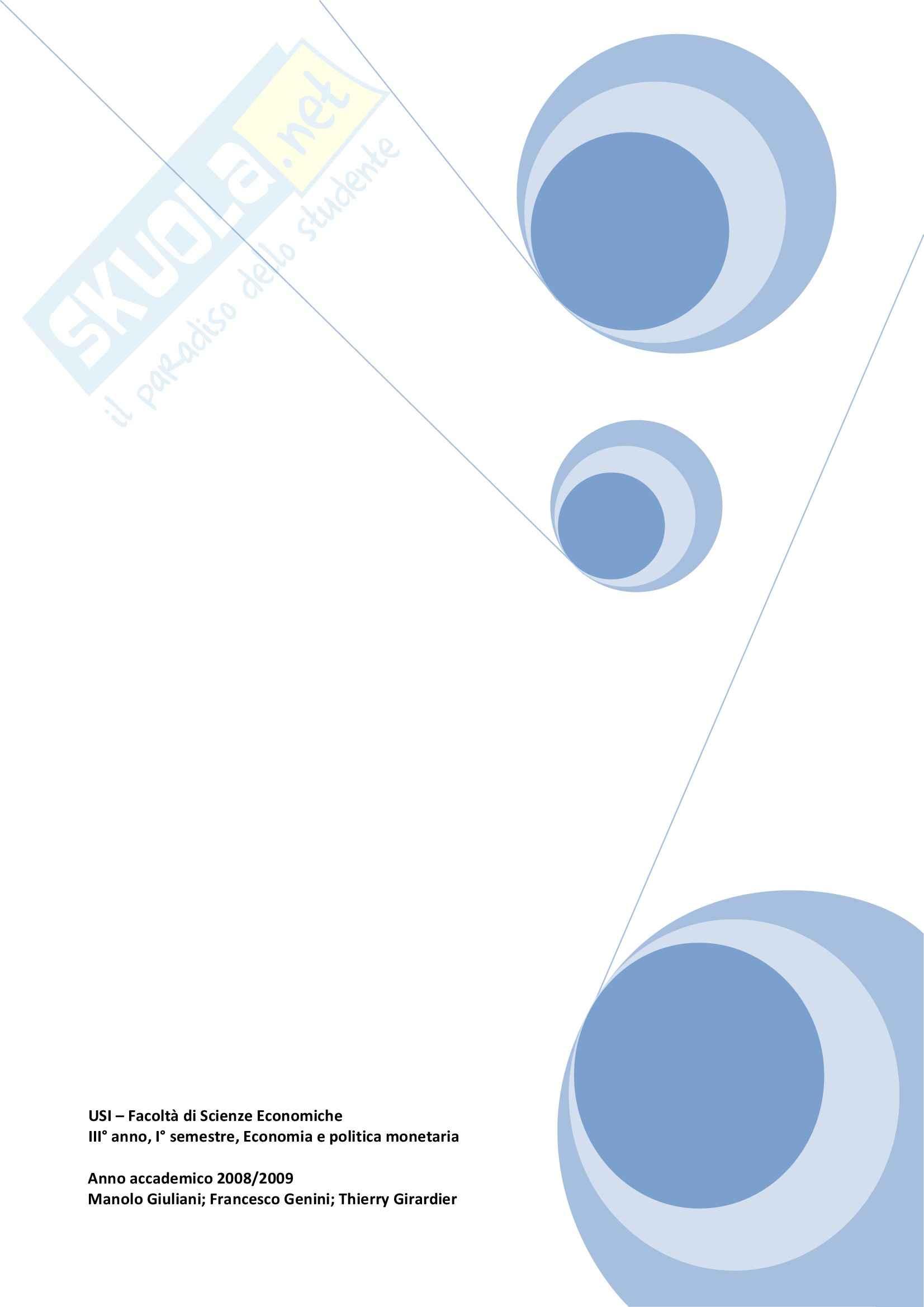 Riassunto esame Economia e politica monetaria, prof. Cencini, libro consigliato Elementi di Macroeconomia Monetaria