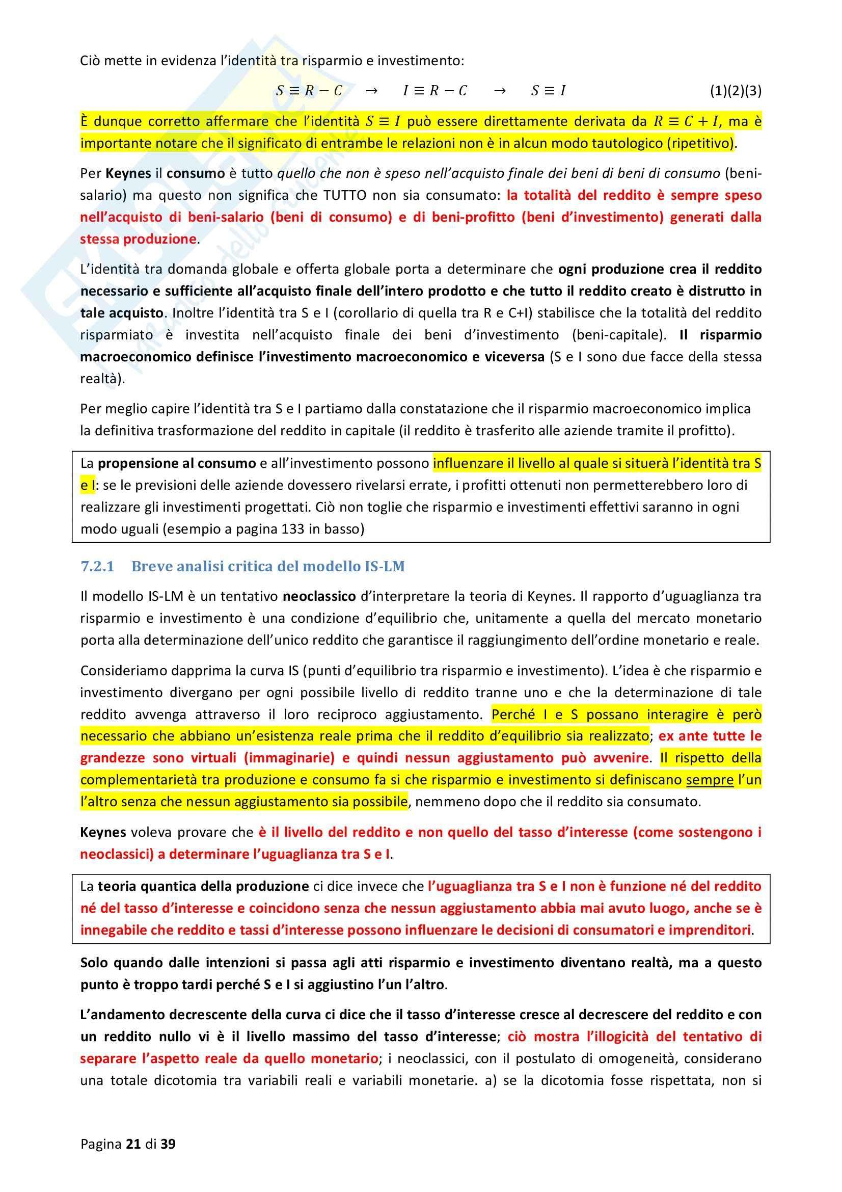Riassunto esame Economia e politica monetaria, prof. Cencini, libro consigliato Elementi di Macroeconomia Monetaria Pag. 21