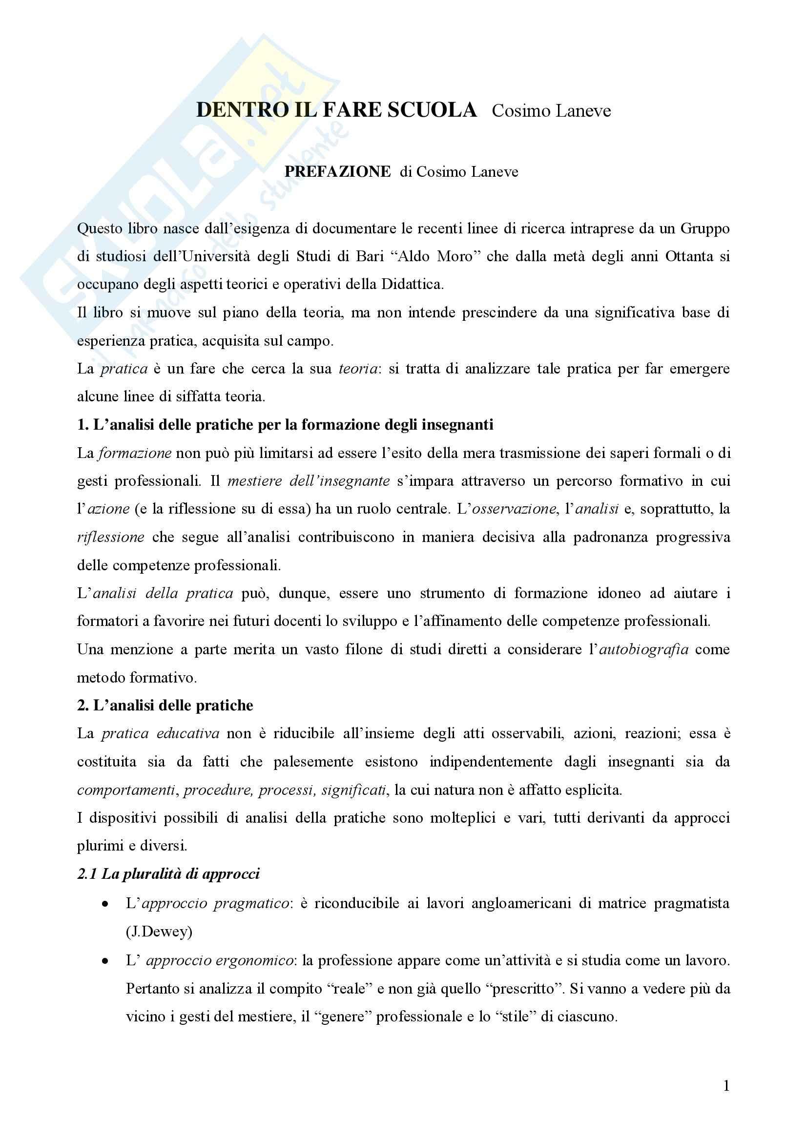 Dentro il Fare scuola - Cosimo Laneve – Riassunto esame