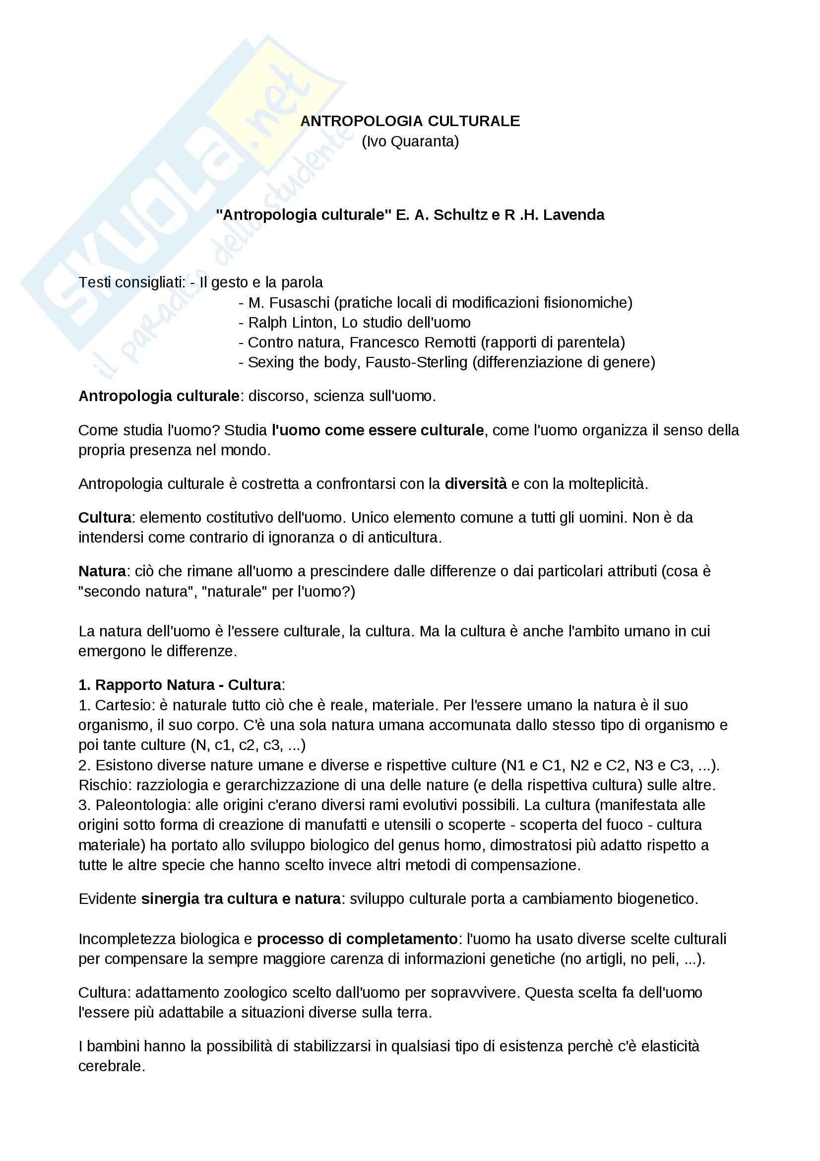 Riassunto esame Antropologia culturale, prof. Quaranta, libro consigliato Modernità in Polvere, Appadurai