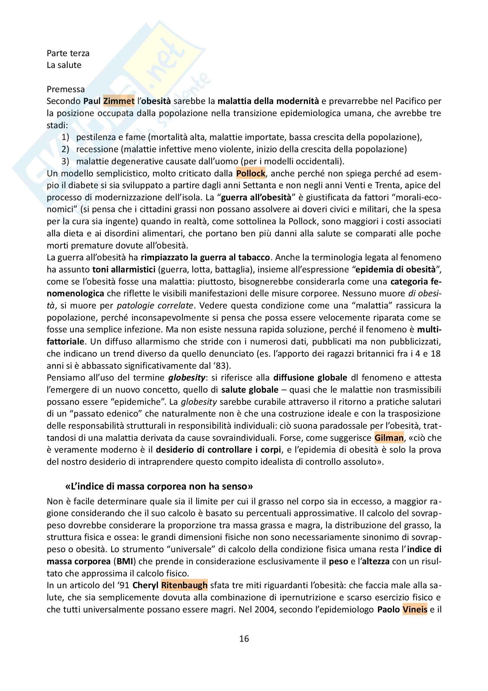 Riassunto esame Antropologia, prof. Allovio, libro consigliato Il peso del corpo, Cottino Pag. 16
