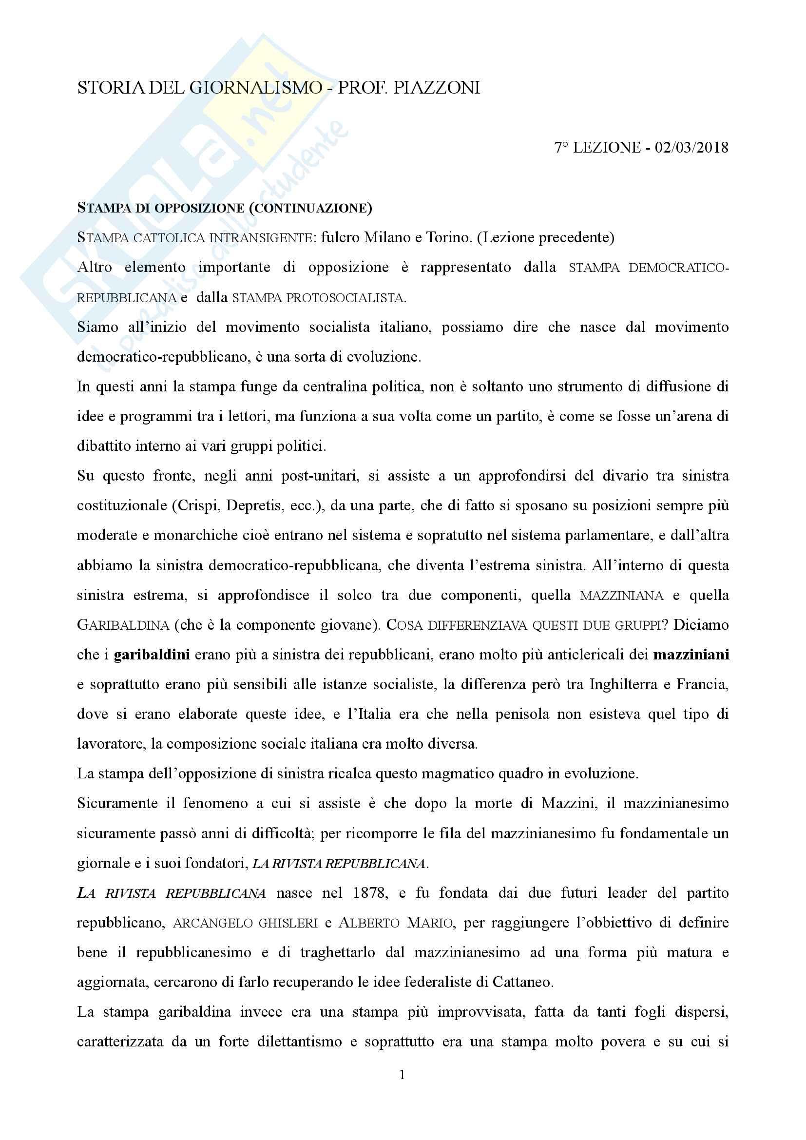 Storia del giornalismo appunti lezione 7 02/03/2018