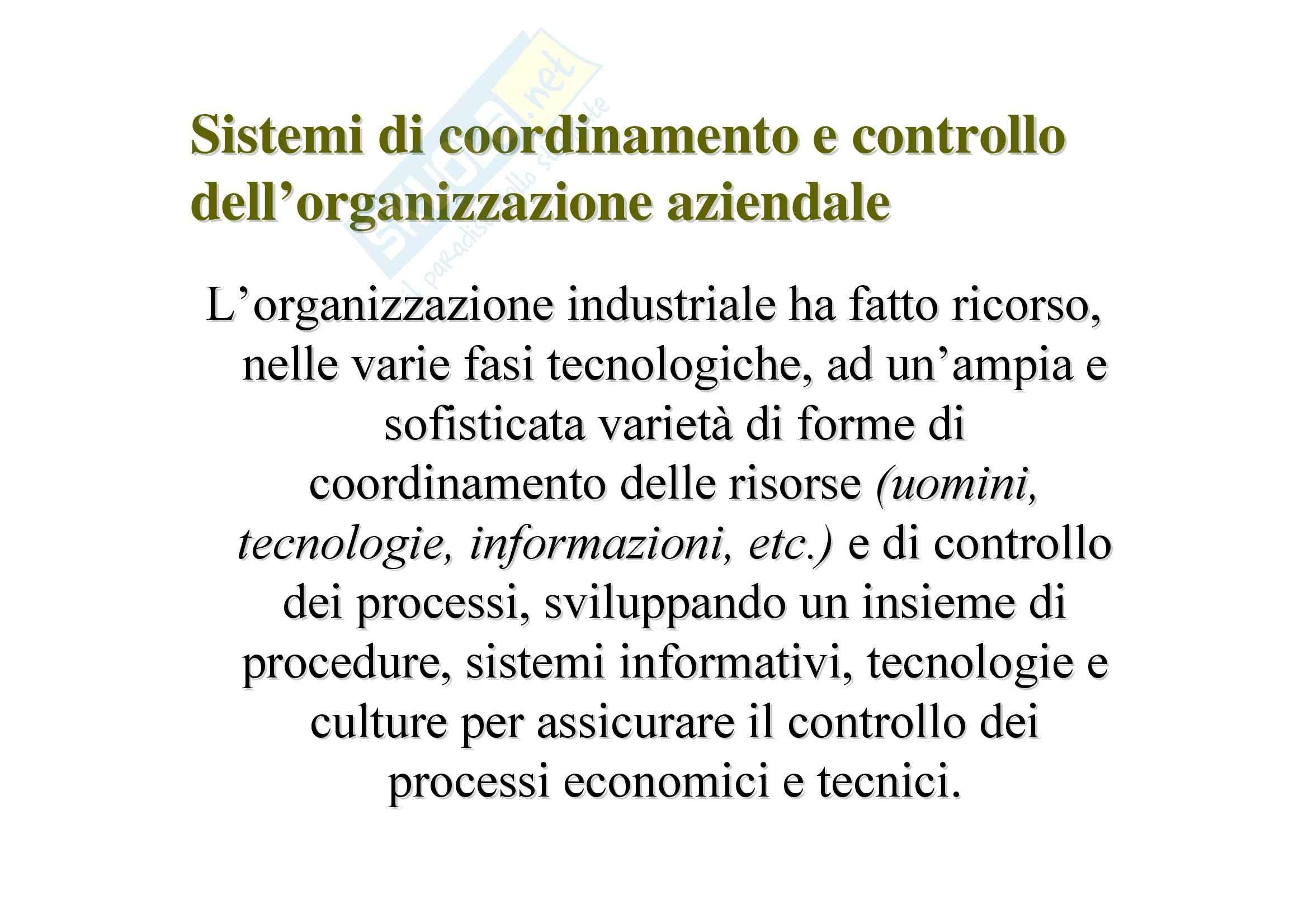 Tecnologia dei cicli produttivi - forme di coordinamento e controllo