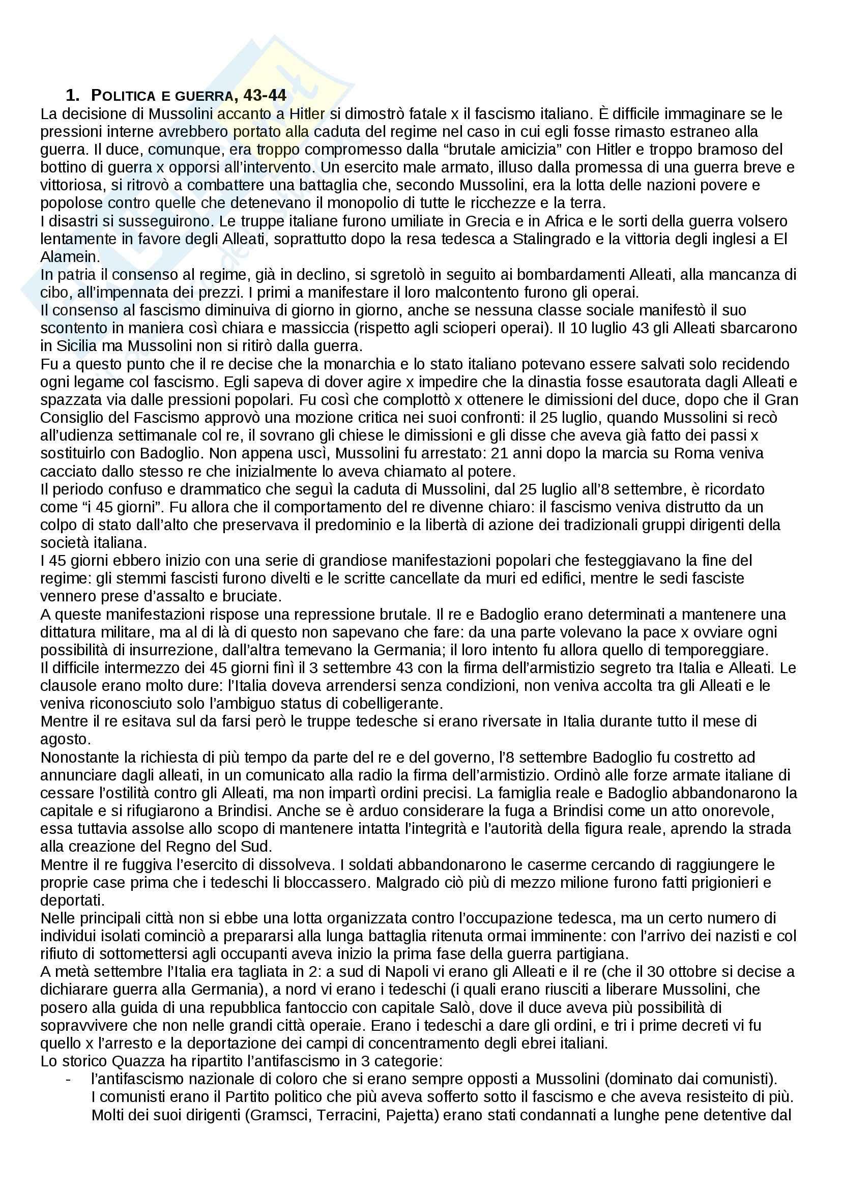 Riassunto esame Storia, prof. Cartosio, libro consigliato Storia d'Italia dal dopoguerra a oggi, Ginsborg