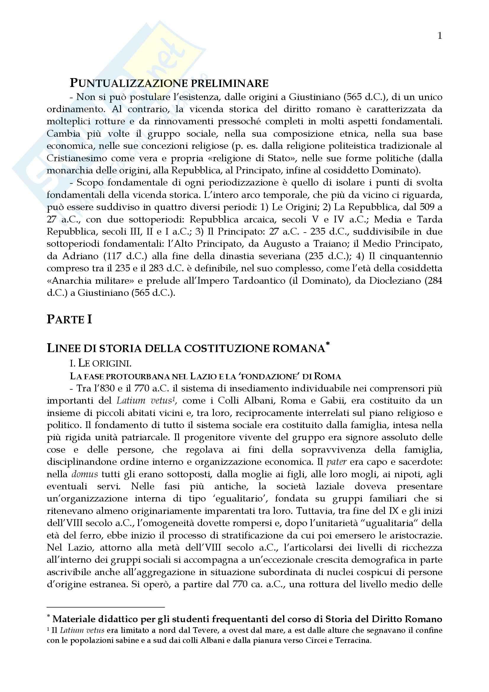 Diritto romano - argomenti generali