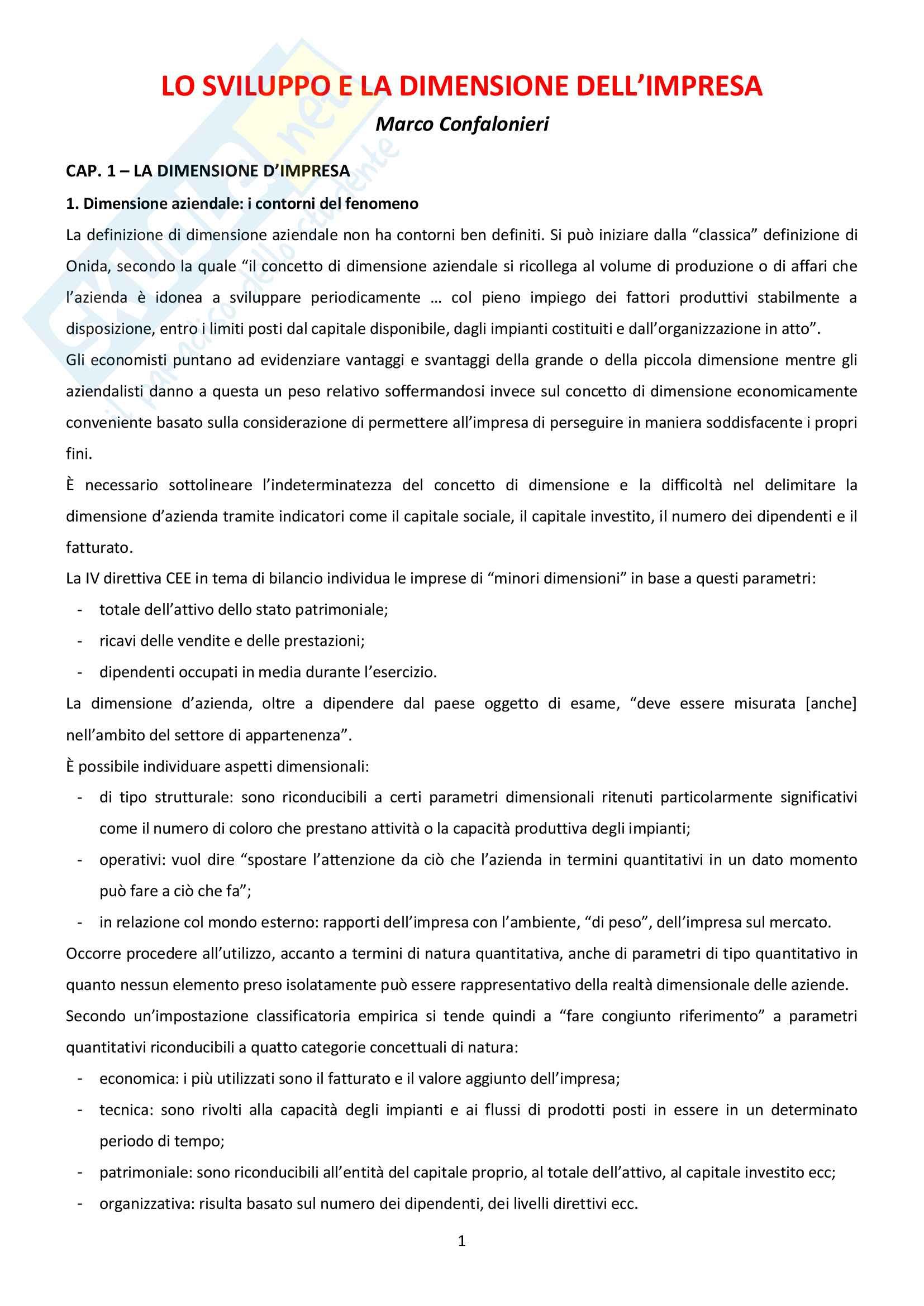 Riassunto esame di Economia Aziendale, prof. Fasana o Confalonieri, testo consigliato Lo Sviluppo E La Dimensione Dell'impresa