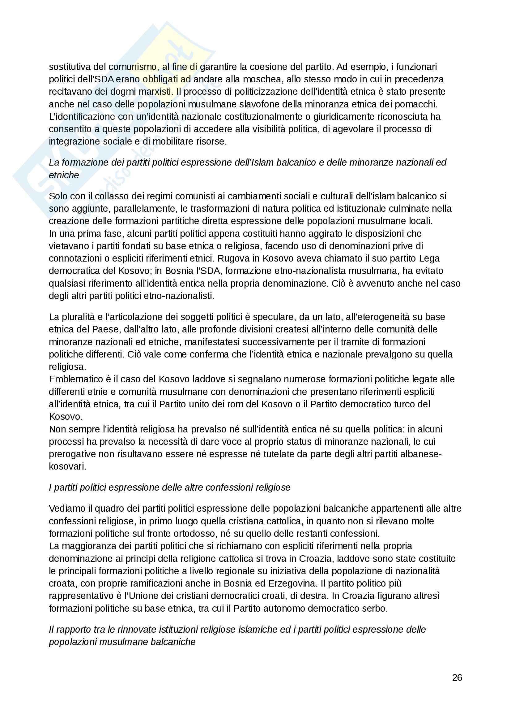 Riassunto esame Sviluppo politico, prof. Belloni, libro consigliato Islam Balcanico, Bega Pag. 26