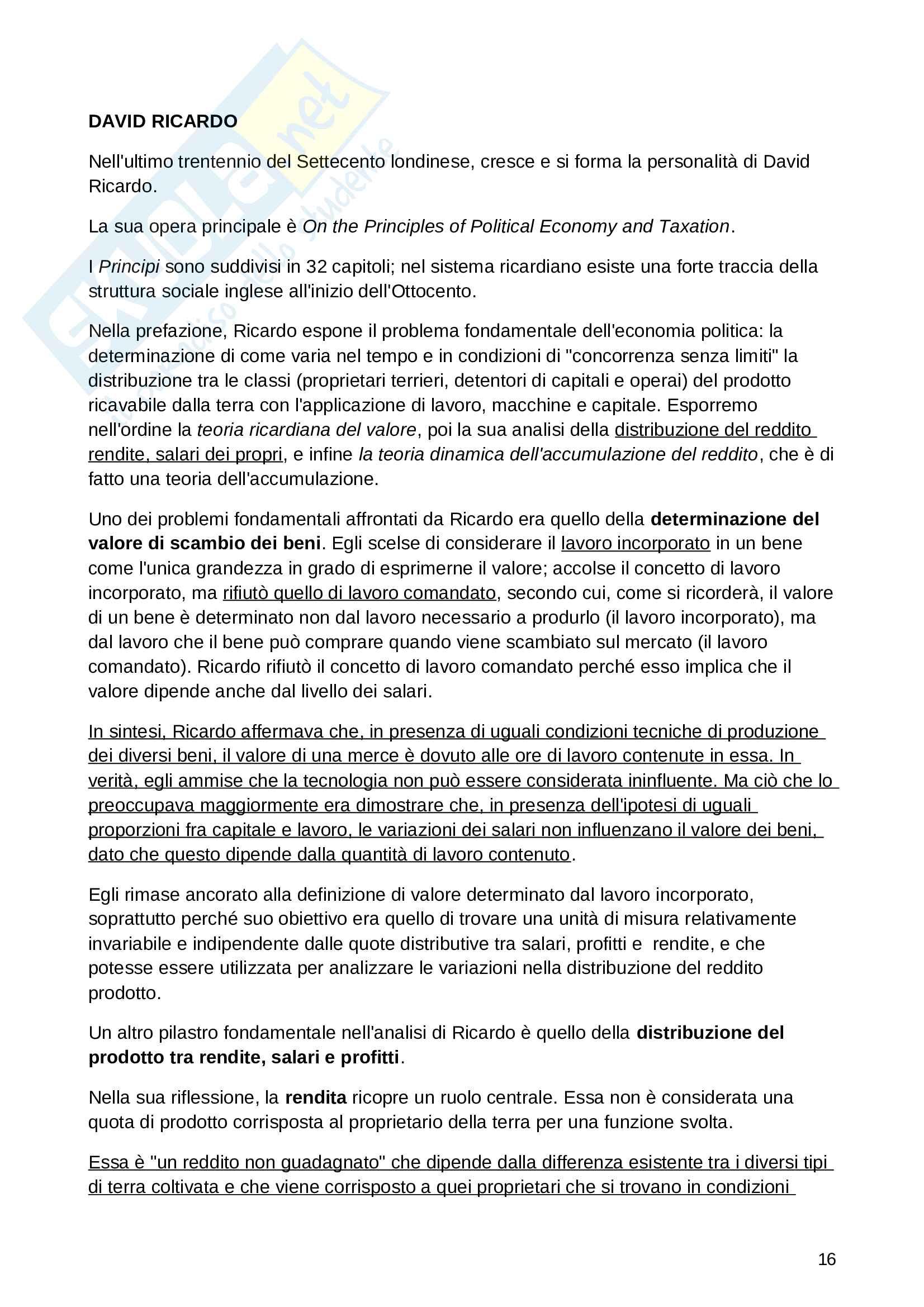 Riassunto esame Storia del pensiero economico, prof. Parisi, libro consigliato Economia Politica. Un'Introduzione Storica, Alacevich Pag. 16