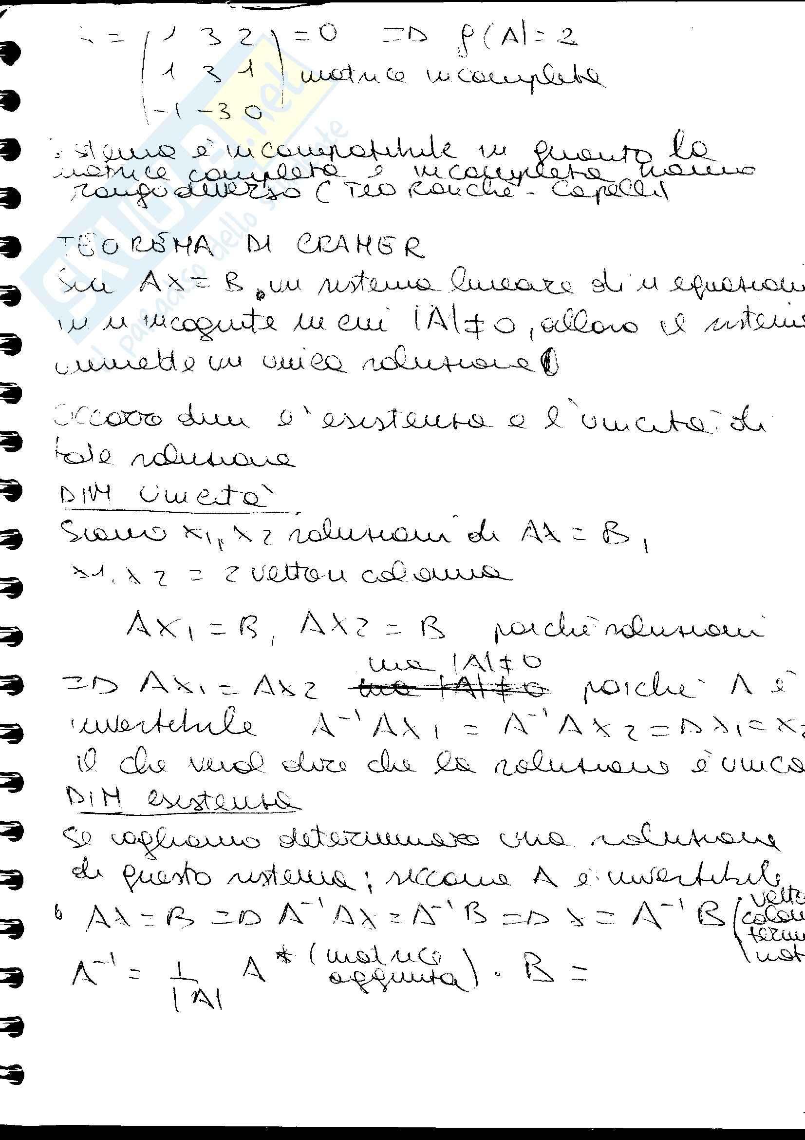 Matrici e teorema di cramer