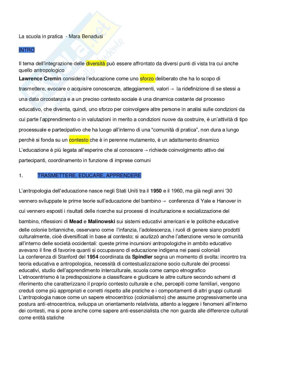 Riassunto esame Antropologia dell'educazione, prof. Tarabusi, libro consigliato La scuola in pratica, Benadusi