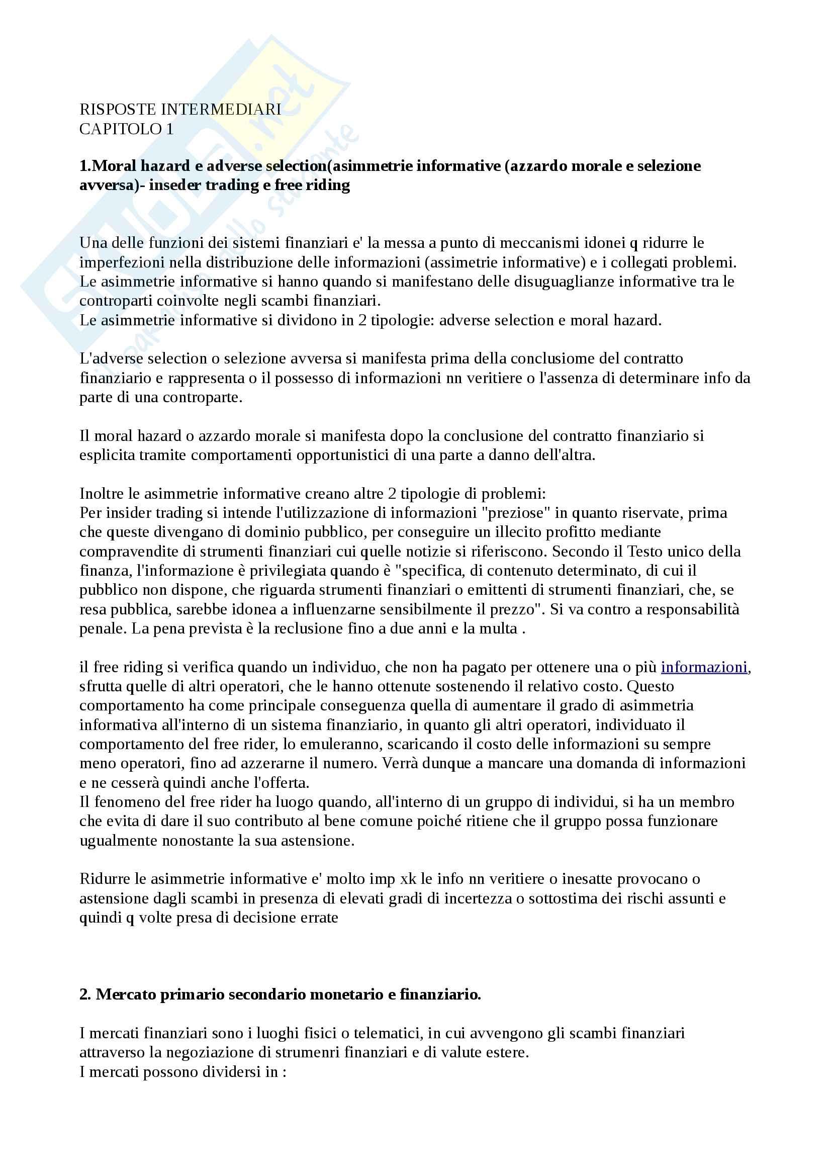 Domande e risposte Economia degli intermediari finanziari