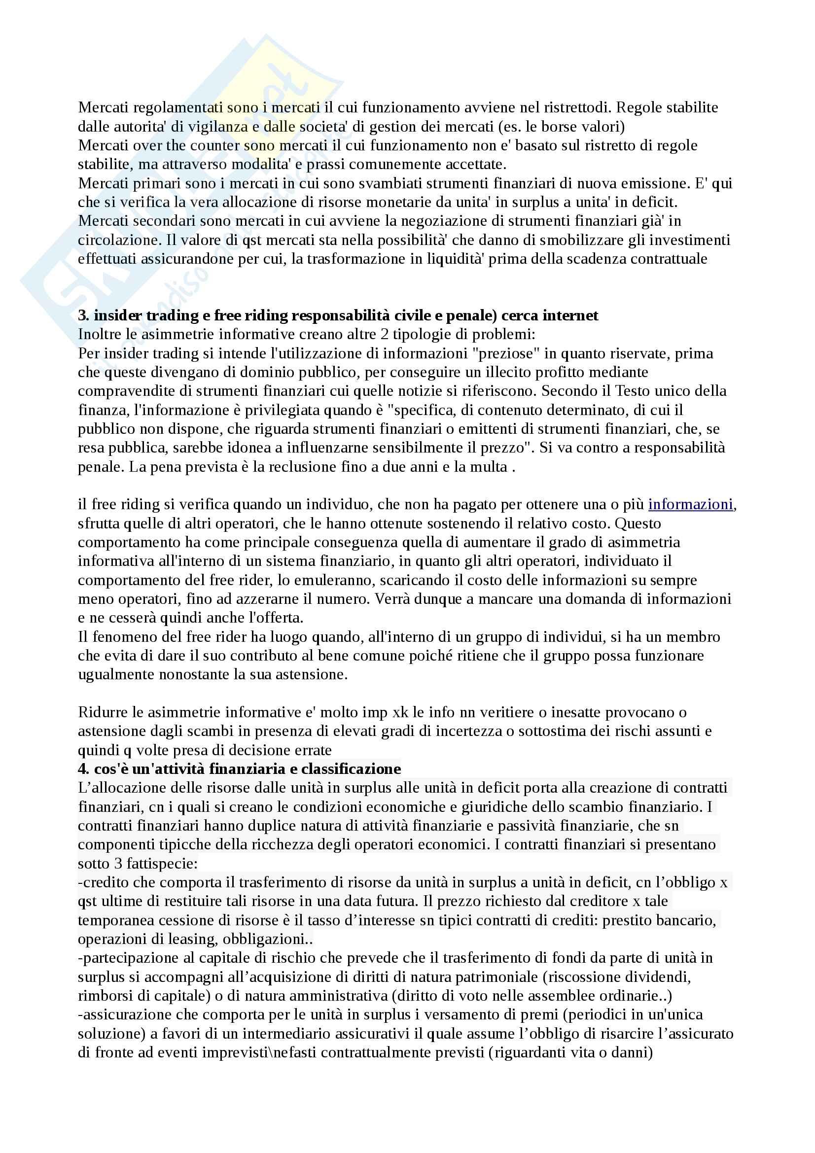 Domande e risposte Economia degli intermediari finanziari Pag. 2