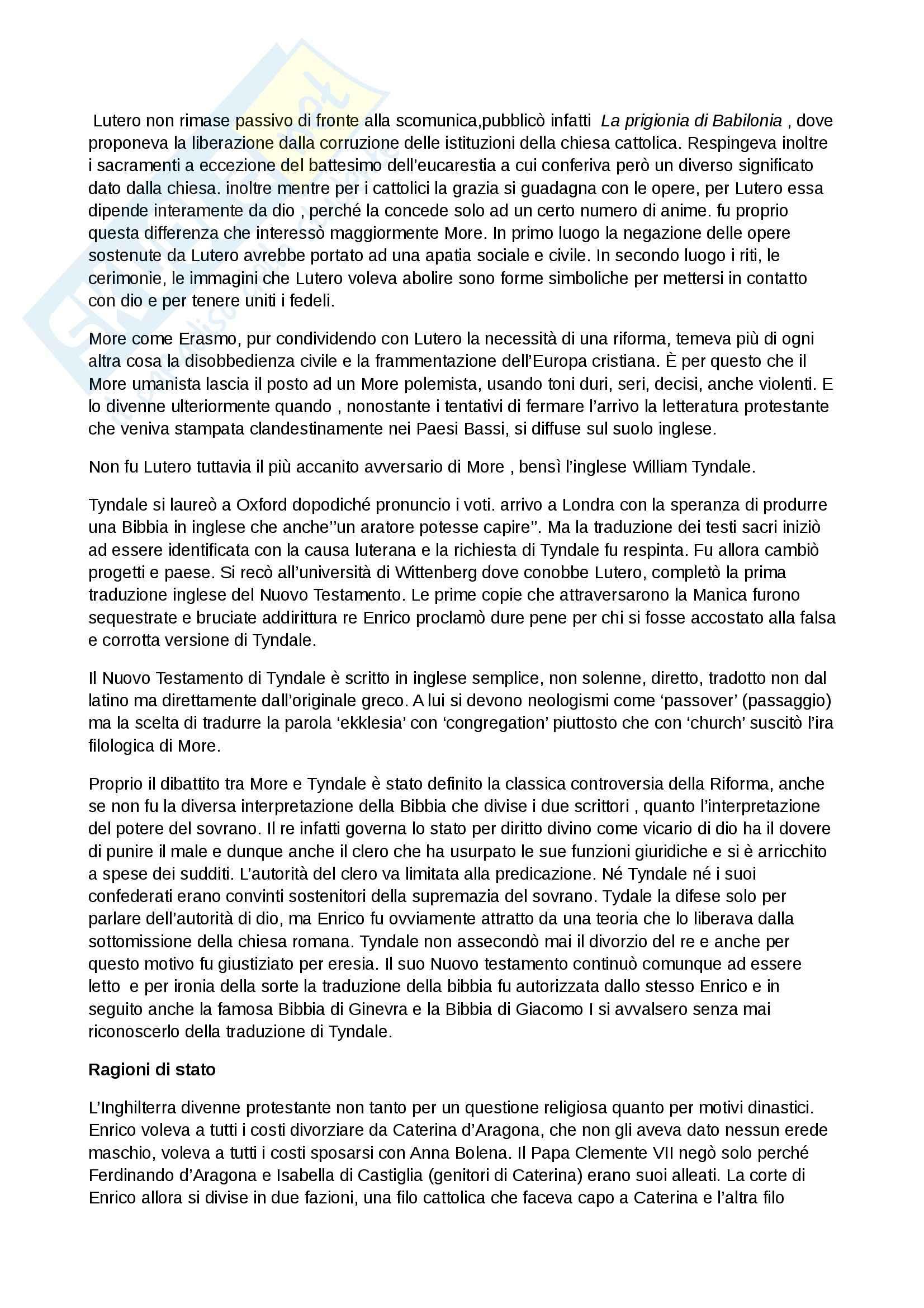 Riassunto esame Inglese, prof. Cariello, libro consigliato Storia della letteratura inglese. Dalle origini al Settecento, Bertinetti Pag. 11