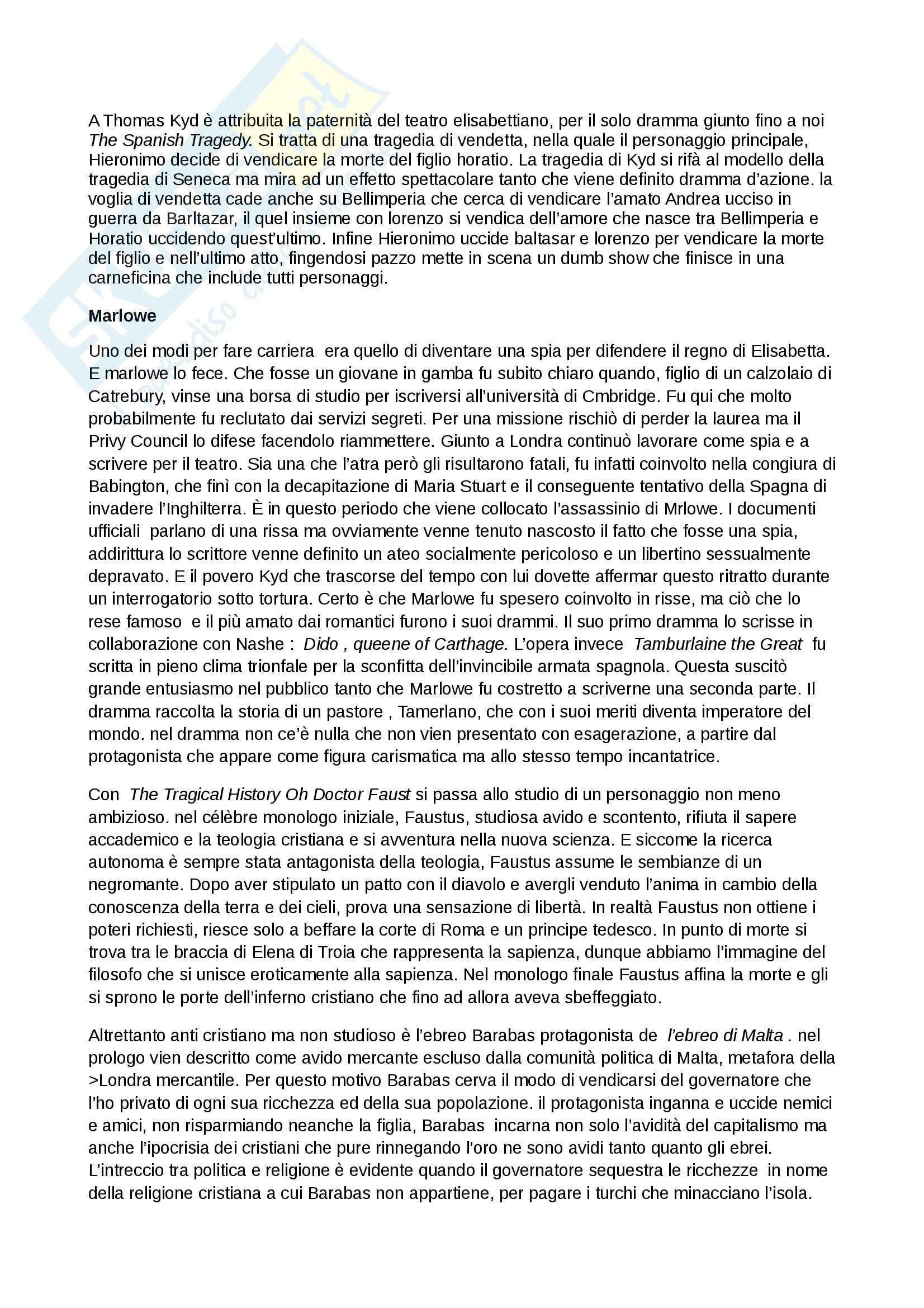 Riassunto esame Inglese, prof. Cariello, libro consigliato Storia della letteratura inglese. Dalle origini al Settecento, Bertinetti Pag. 21