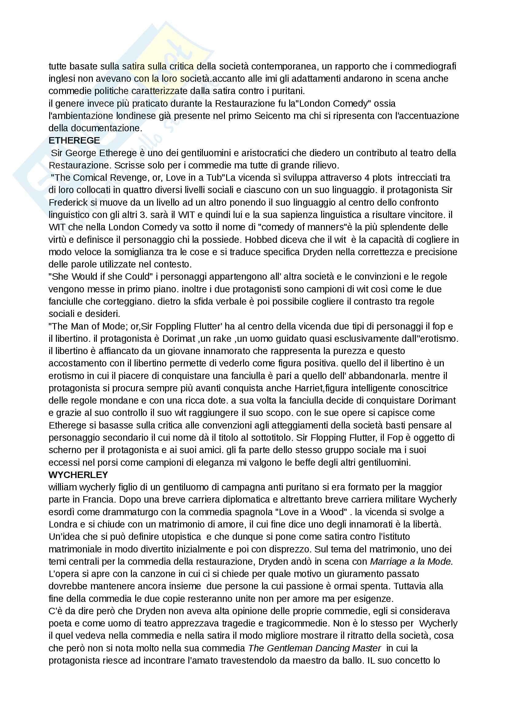 Riassunto esame Inglese, prof. Cariello, libro consigliato Storia della letteratura inglese. Dalle origini al Settecento, Bertinetti Pag. 46
