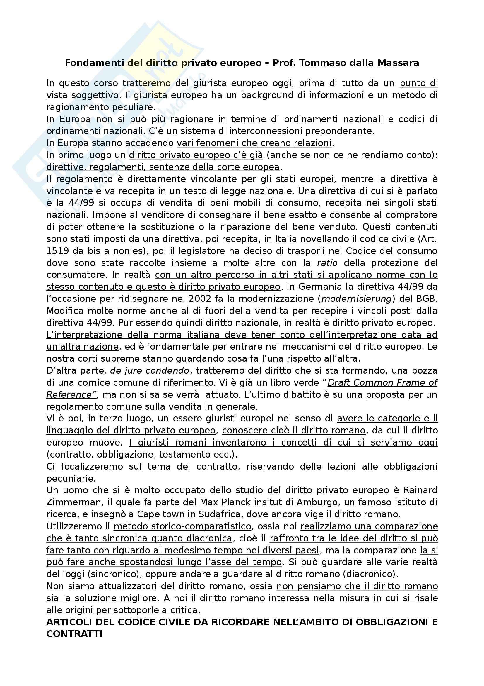 Fondamenti del diritto privato europeo - Appunti