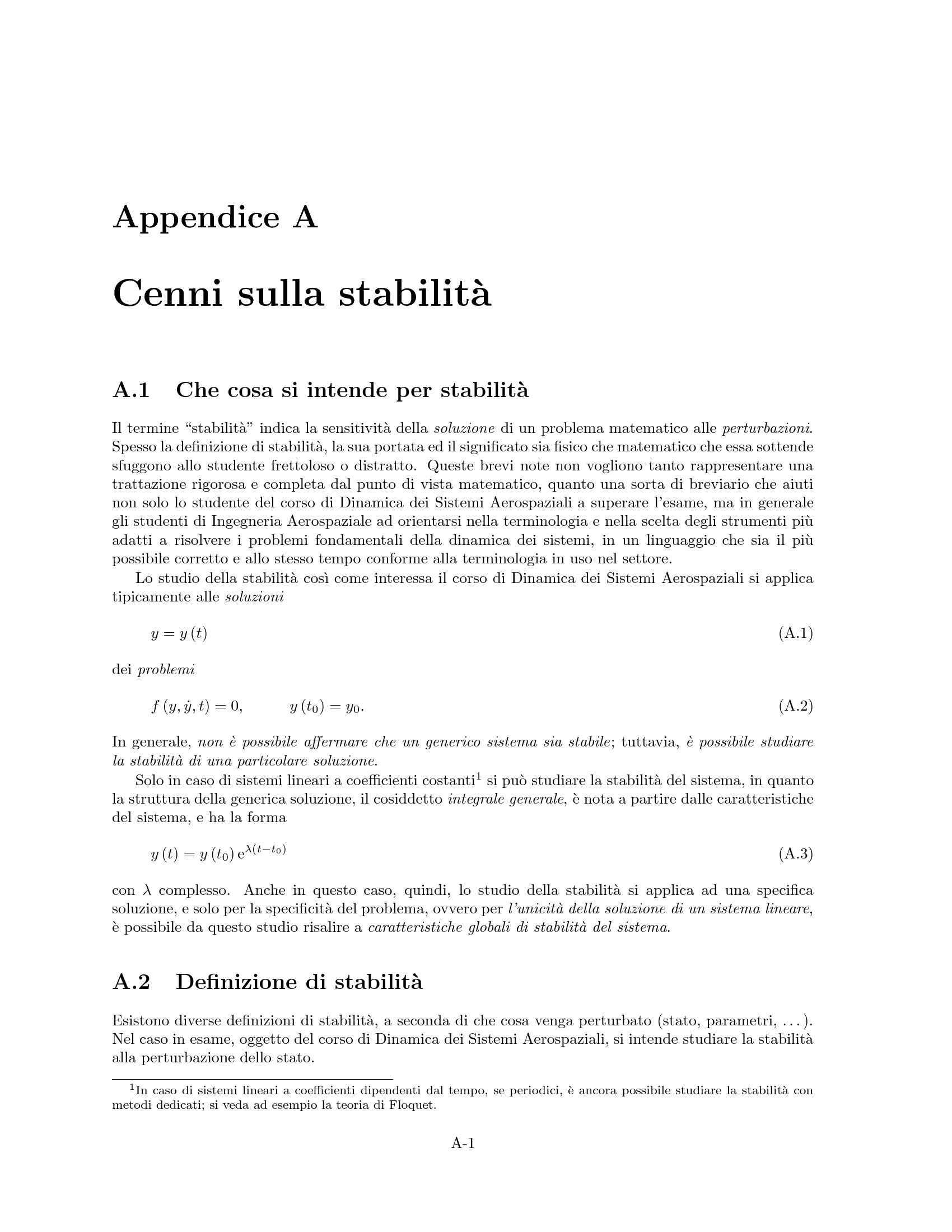 Stabilità - Equilibrio e linearizzazione