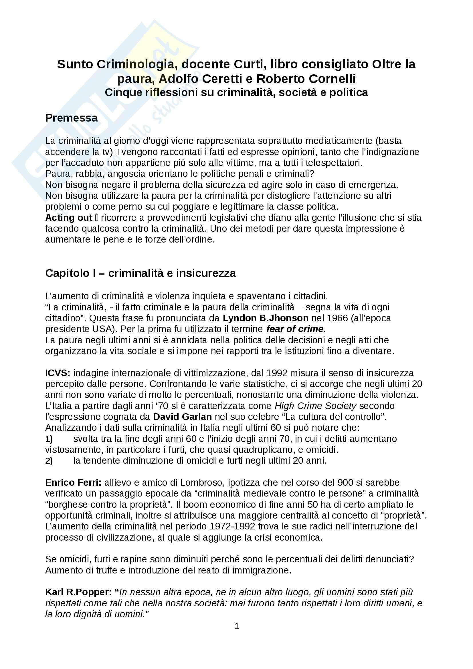 Riassunto esame Criminologia docente Curti libro consigliato Oltre la paura Adolfo Ceretti e Roberto Cornelli