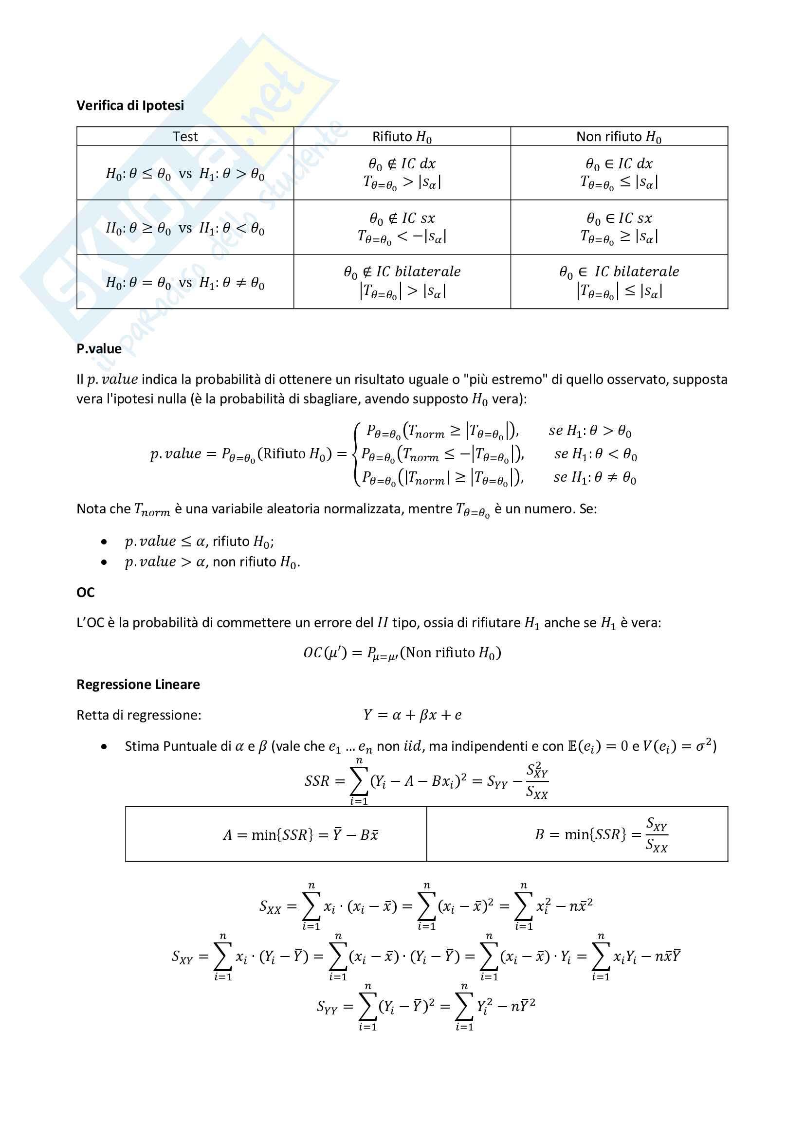 Statistica - Tutte le formule utili per il corso Pag. 11