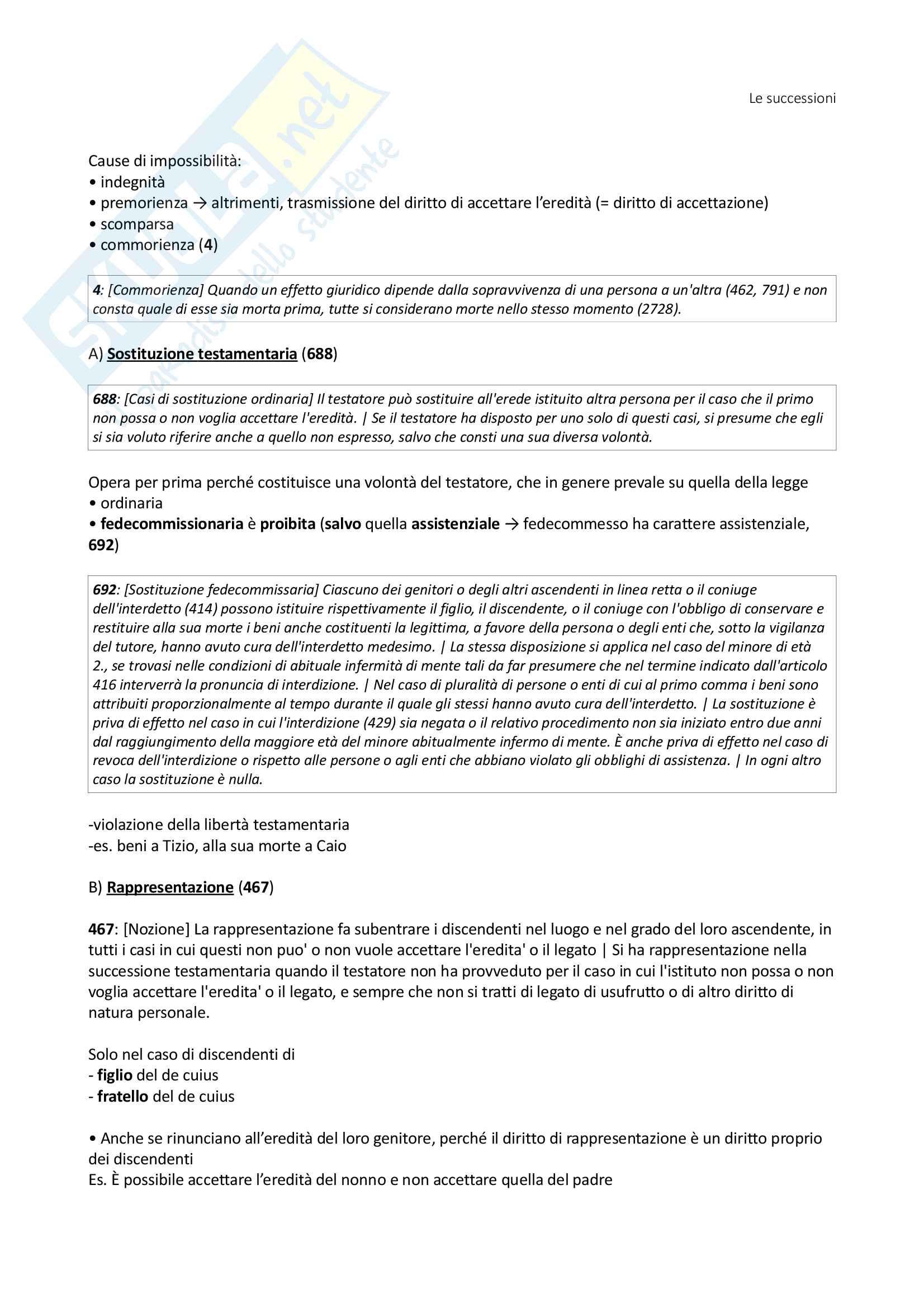 Istituzioni di Diritto Privato - Le Successioni (con filiazione) - Benacchio (UniTn) Pag. 6