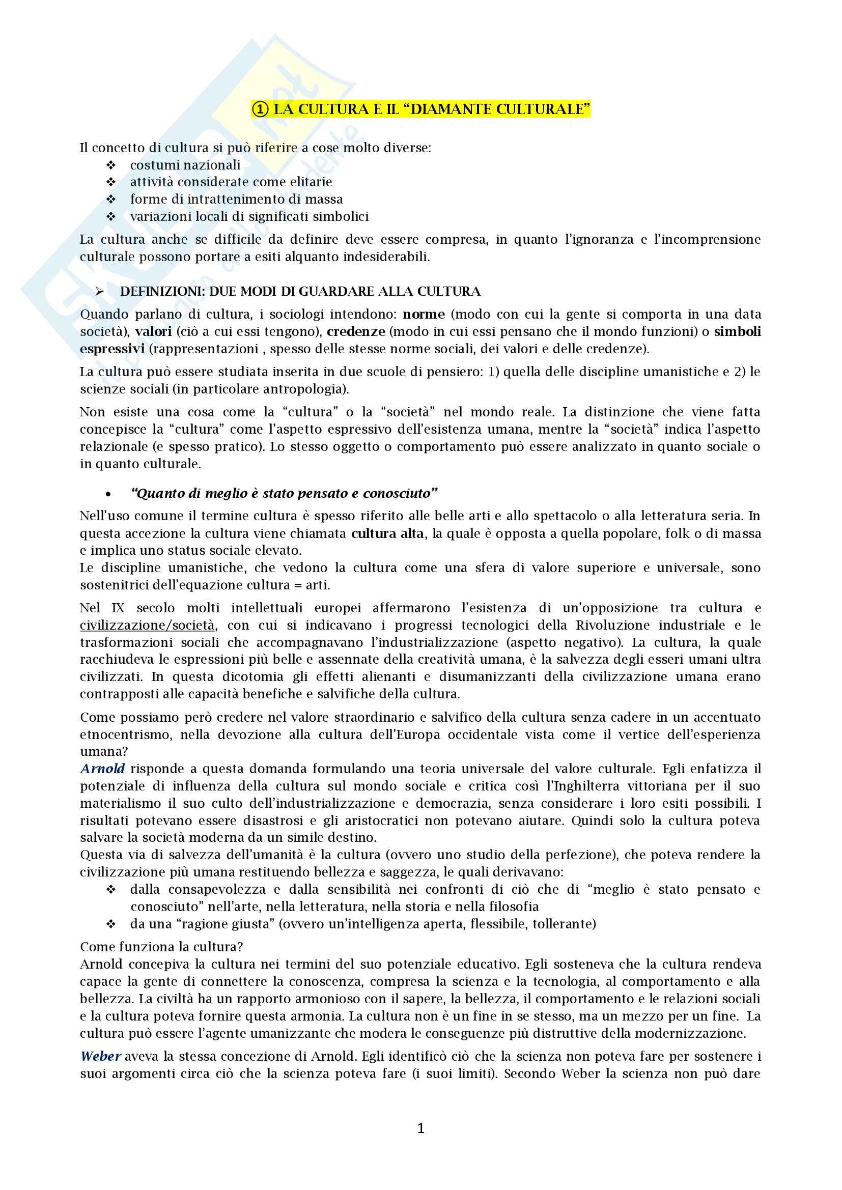 Riassunto esame Sociologia, prof. Santoro, libro consigliato Sociologia della cultura, Griswold