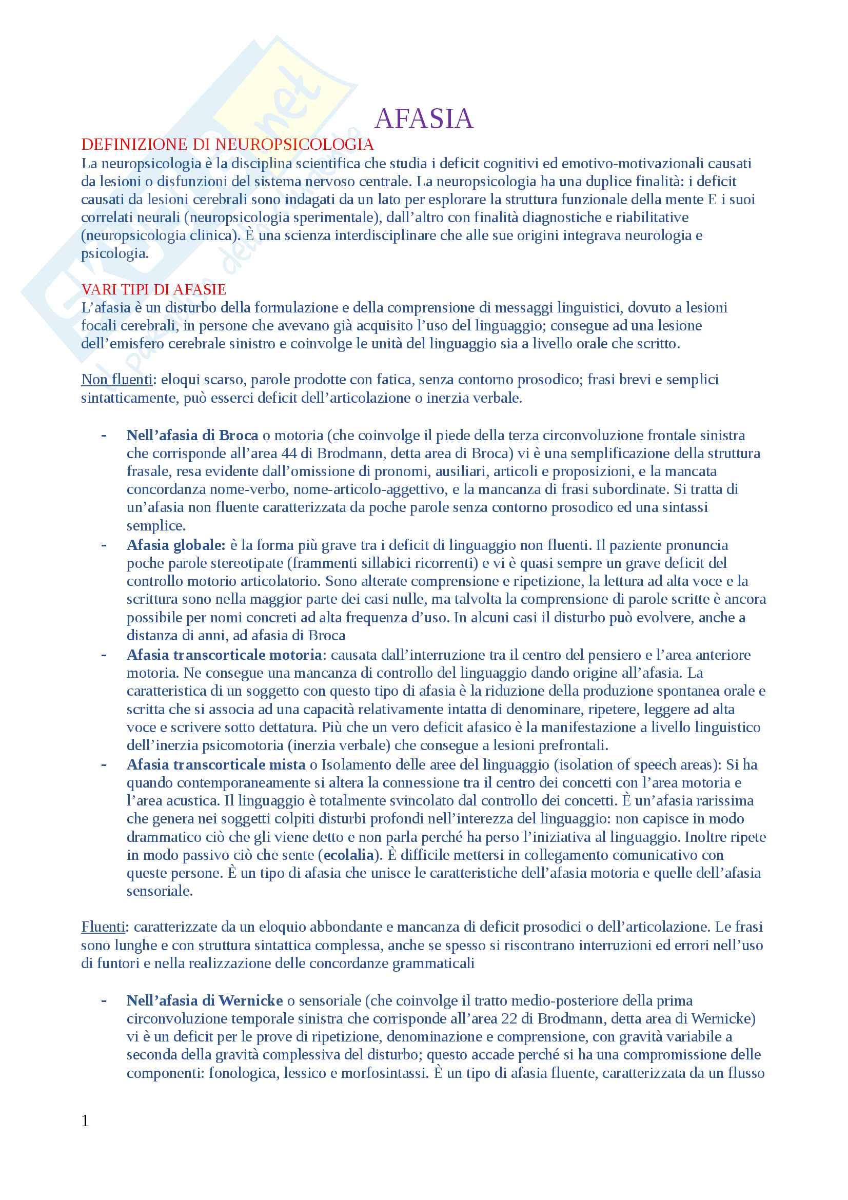 Domande di Neuropsicologia, domande e risposte per esame esaurienti e complete