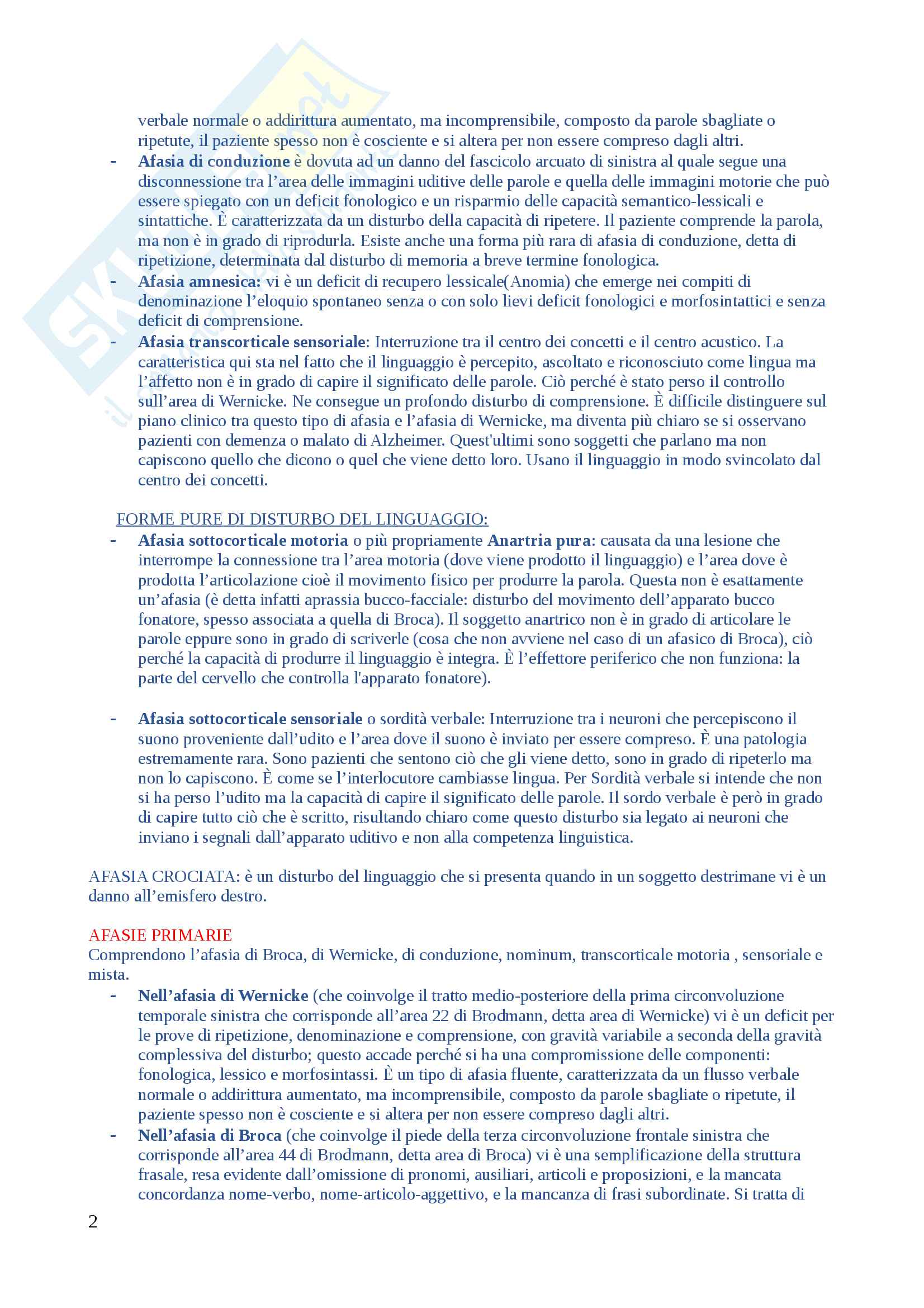 Domande di Neuropsicologia, domande e risposte per esame esaurienti e complete Pag. 2