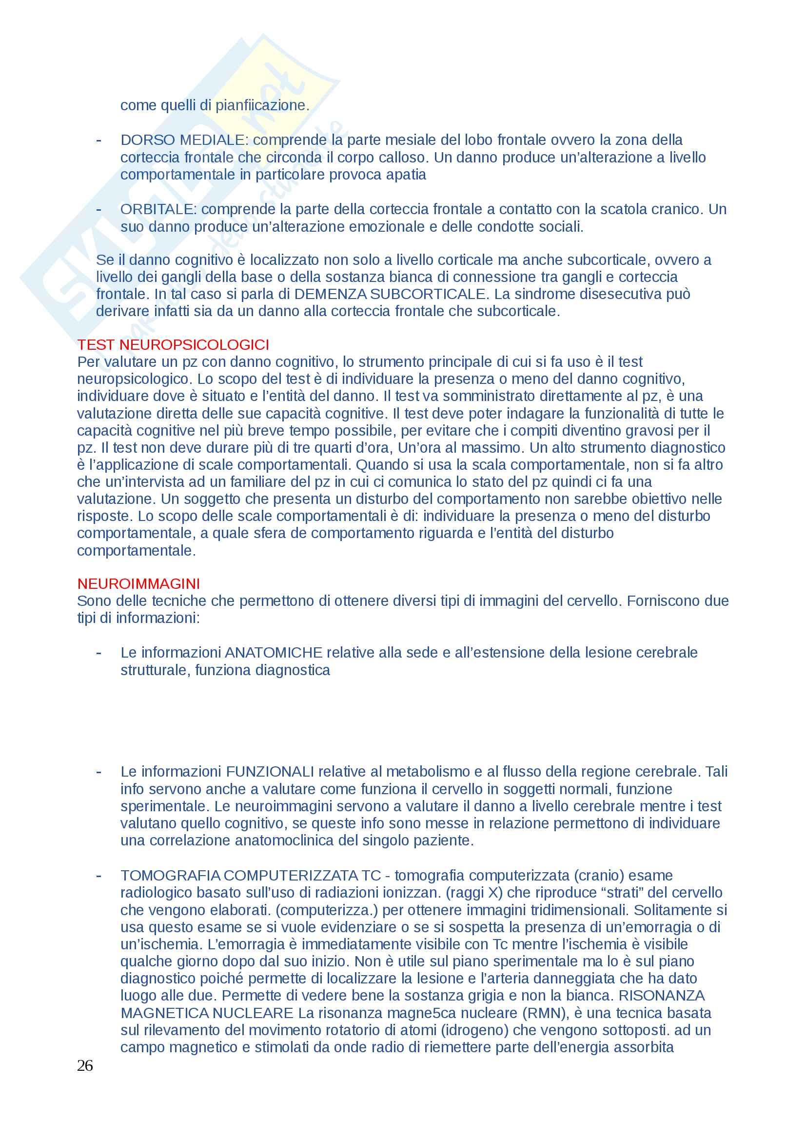 Domande di Neuropsicologia, domande e risposte per esame esaurienti e complete Pag. 26