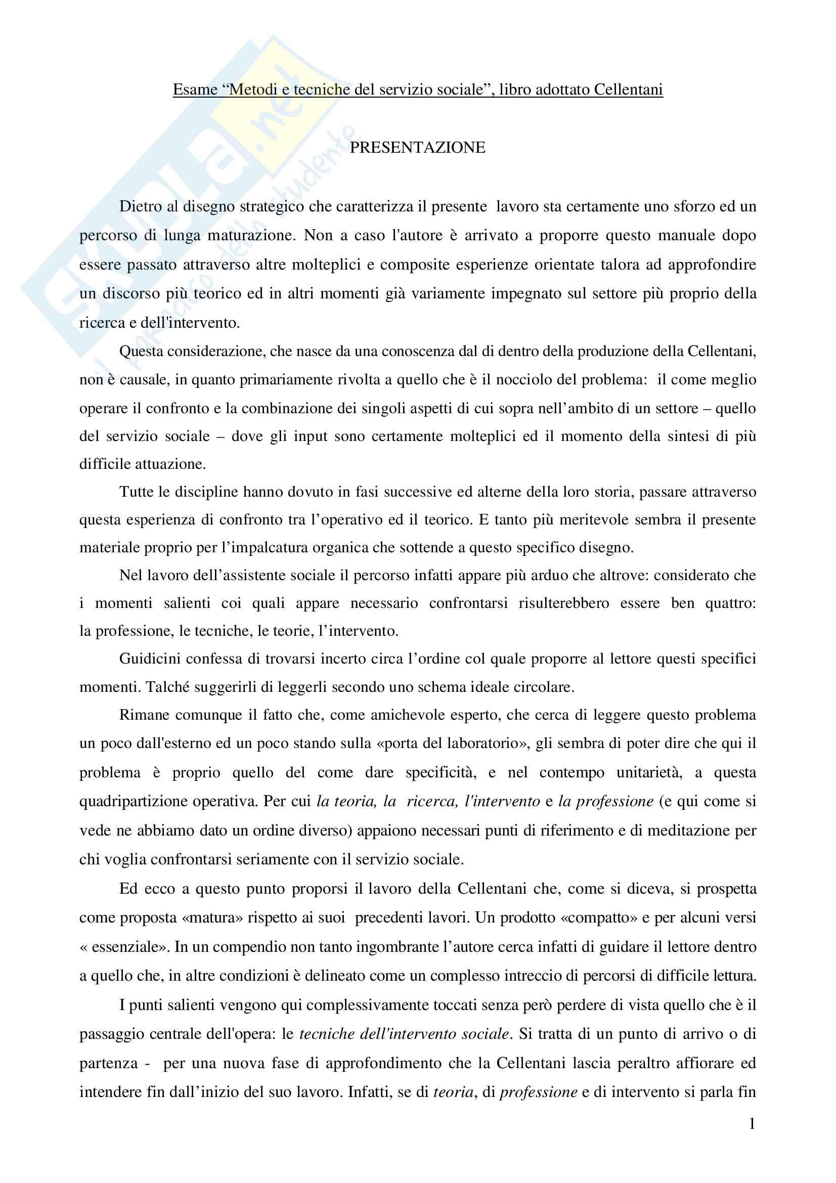 """Riassunto esame Metodi e tecniche del servizio sociale, prof.ssa Rizzo, libro adottato """"Manuale di metodologia del servizio sociale, Cellentani)"""