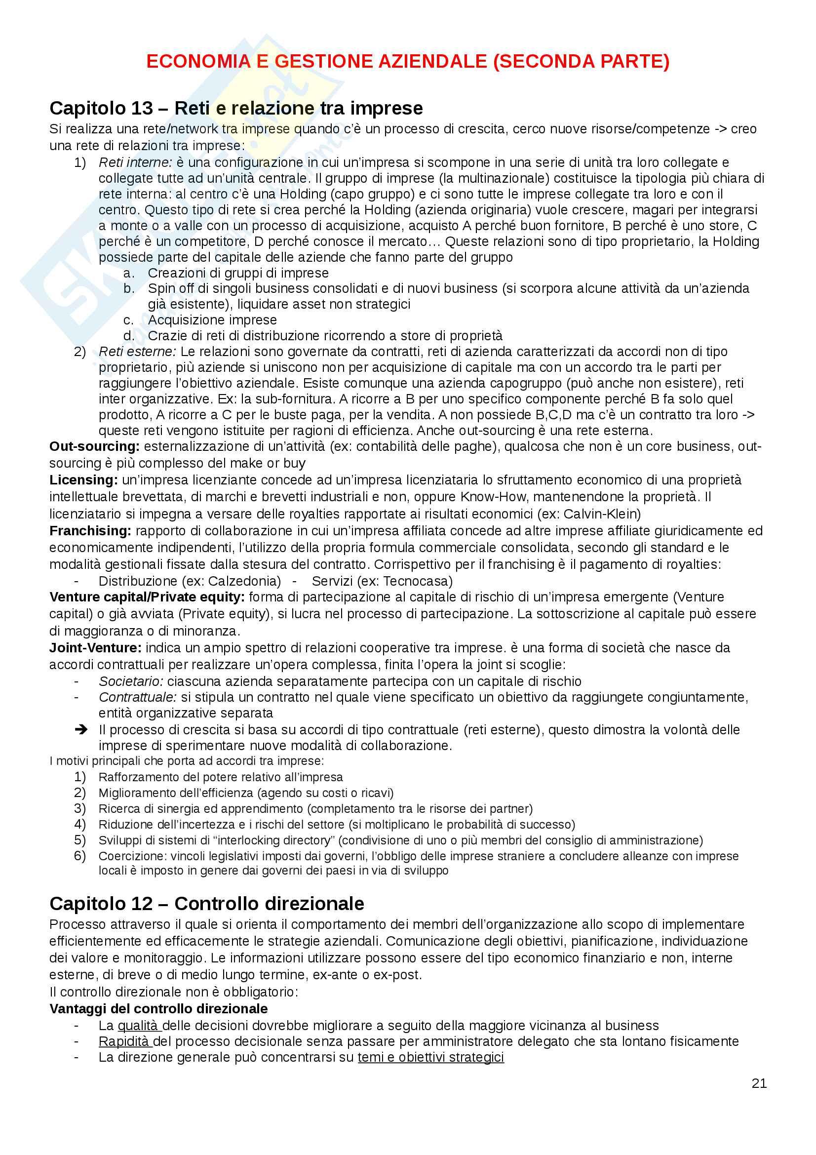Economia e gestione aziendale Pag. 21