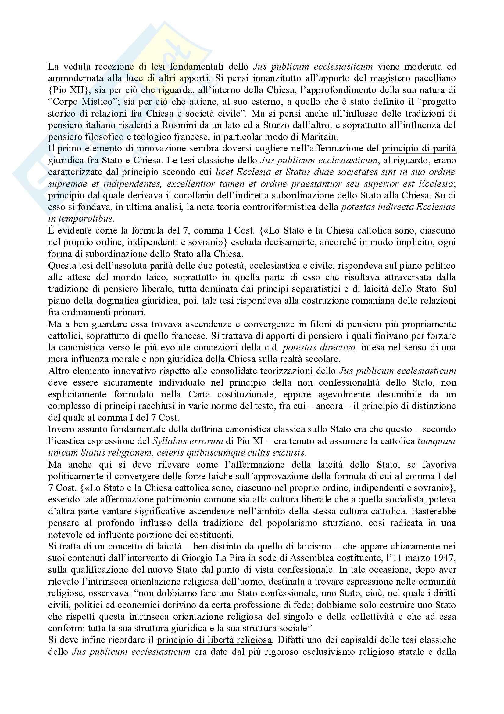 Diritto ecclesiastico - rapporti tra Stato e Chiesa Pag. 11