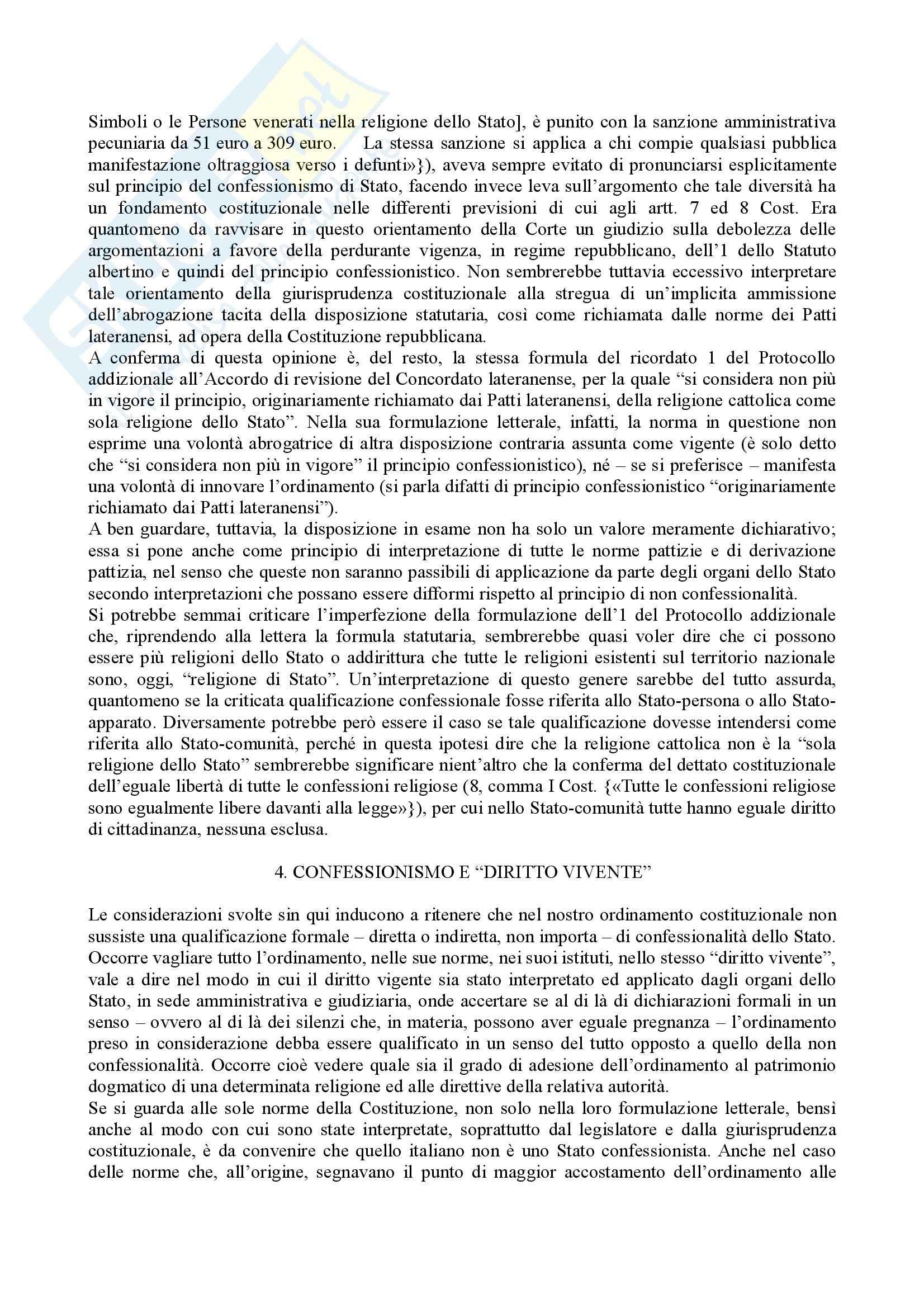 Diritto ecclesiastico - rapporti tra Stato e Chiesa Pag. 21