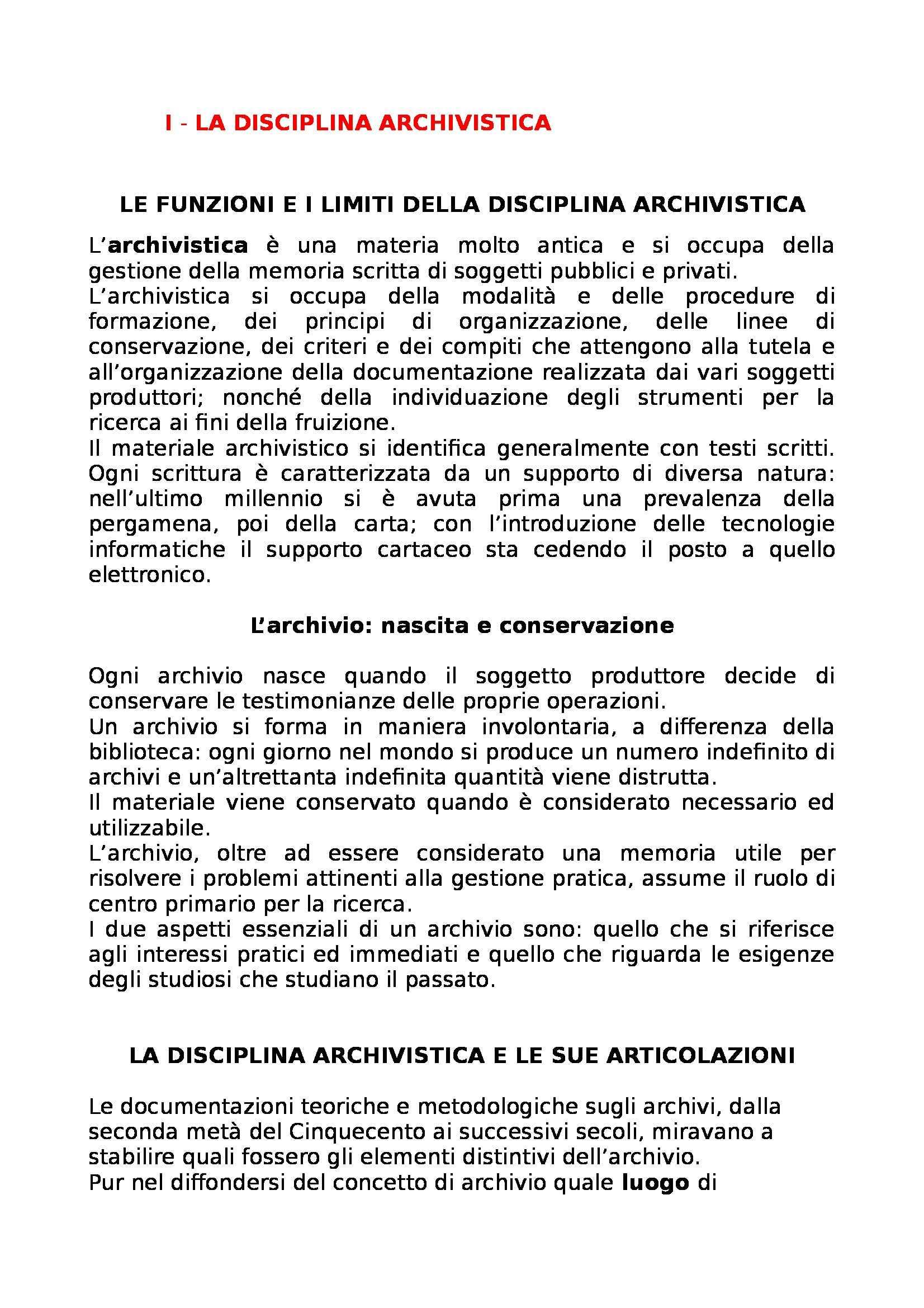 Riassunto esame Archivistica, prof. Giambastiani, libro consigliato Archivistica generale, Romiti
