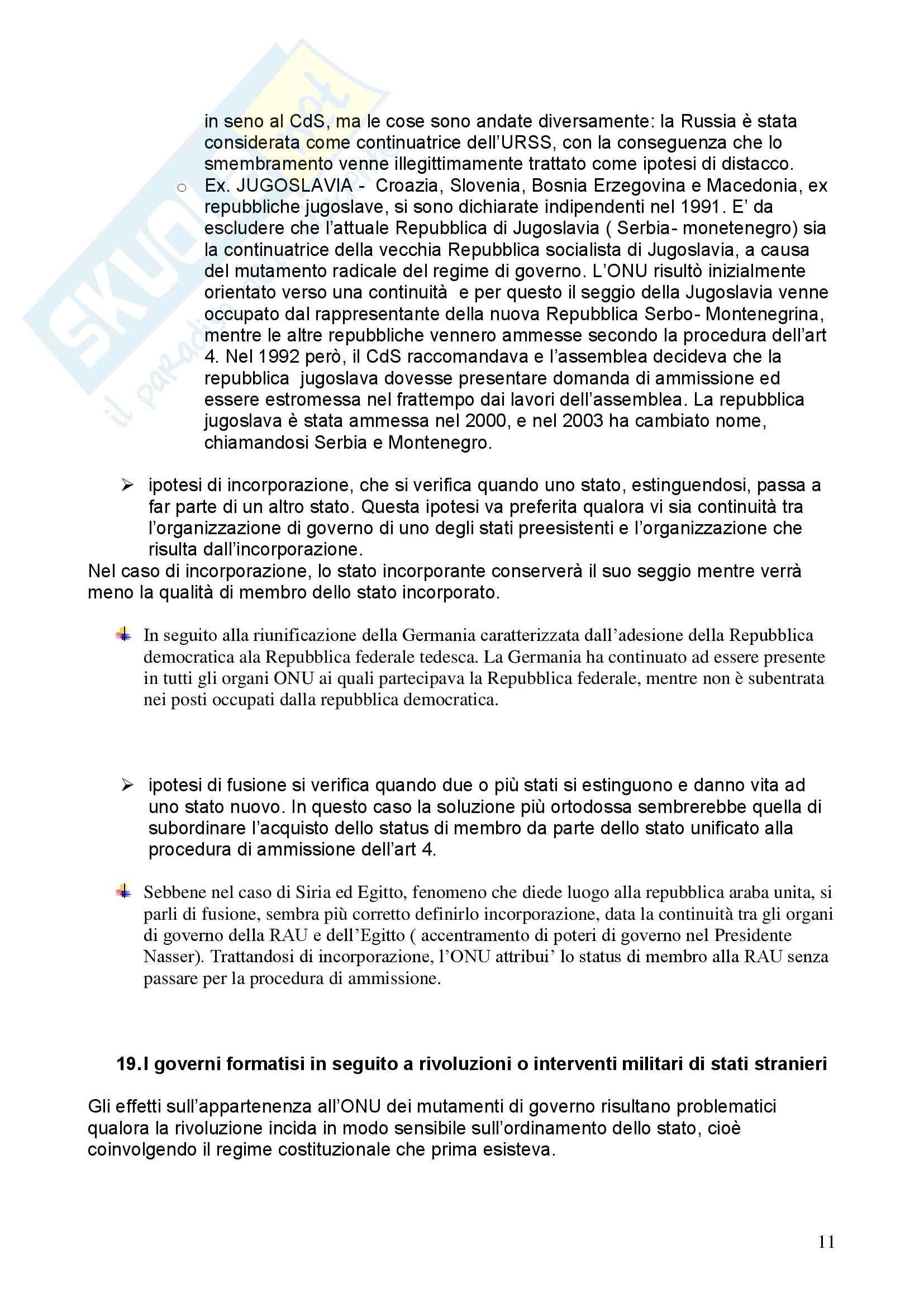 Riassunto esame Diritto Internazionale, prof. Davì, libro consigliato Le Nazioni Unite, Conforti Pag. 11