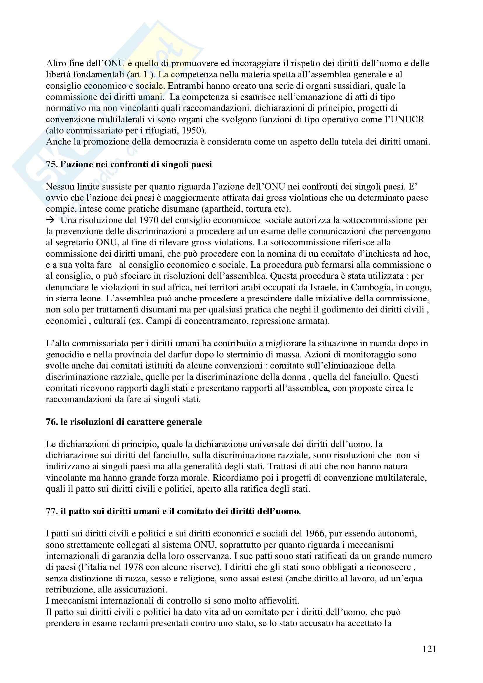 Riassunto esame Diritto Internazionale, prof. Davì, libro consigliato Le Nazioni Unite, Conforti Pag. 121