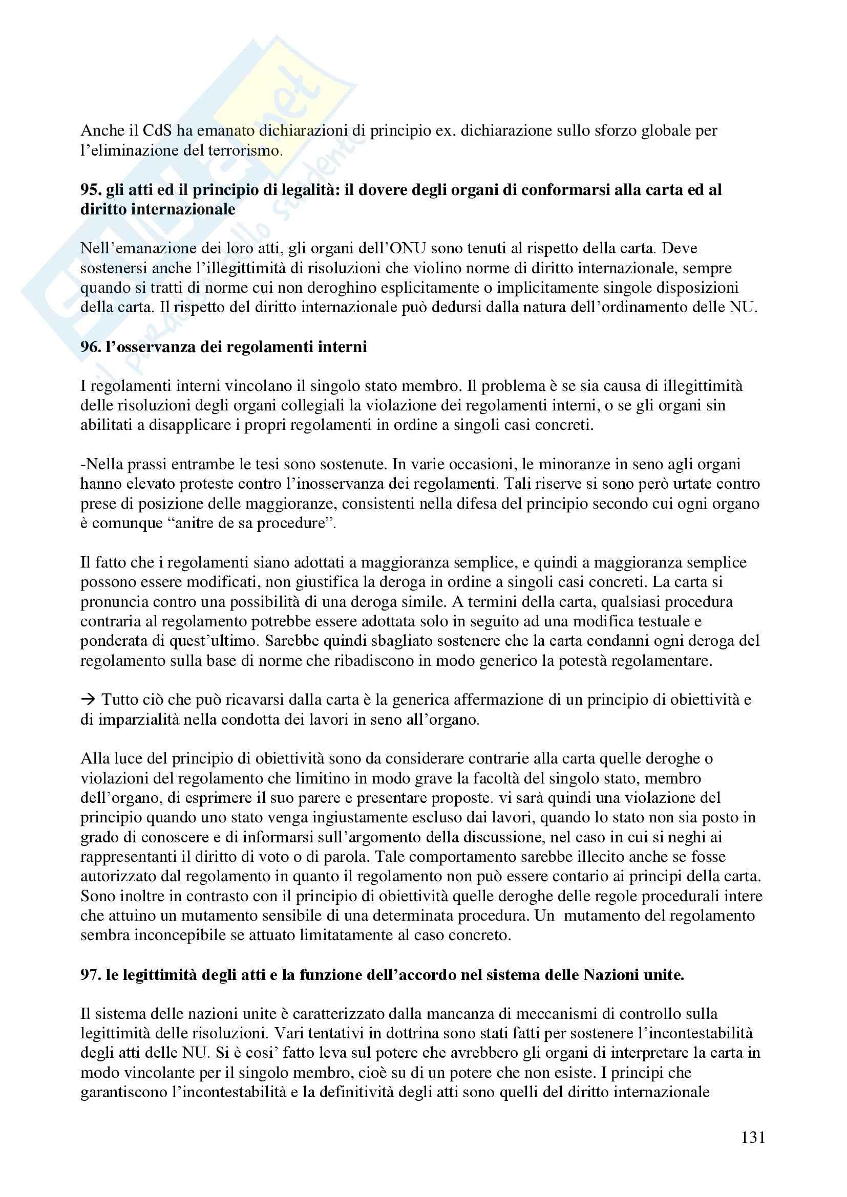 Riassunto esame Diritto Internazionale, prof. Davì, libro consigliato Le Nazioni Unite, Conforti Pag. 131