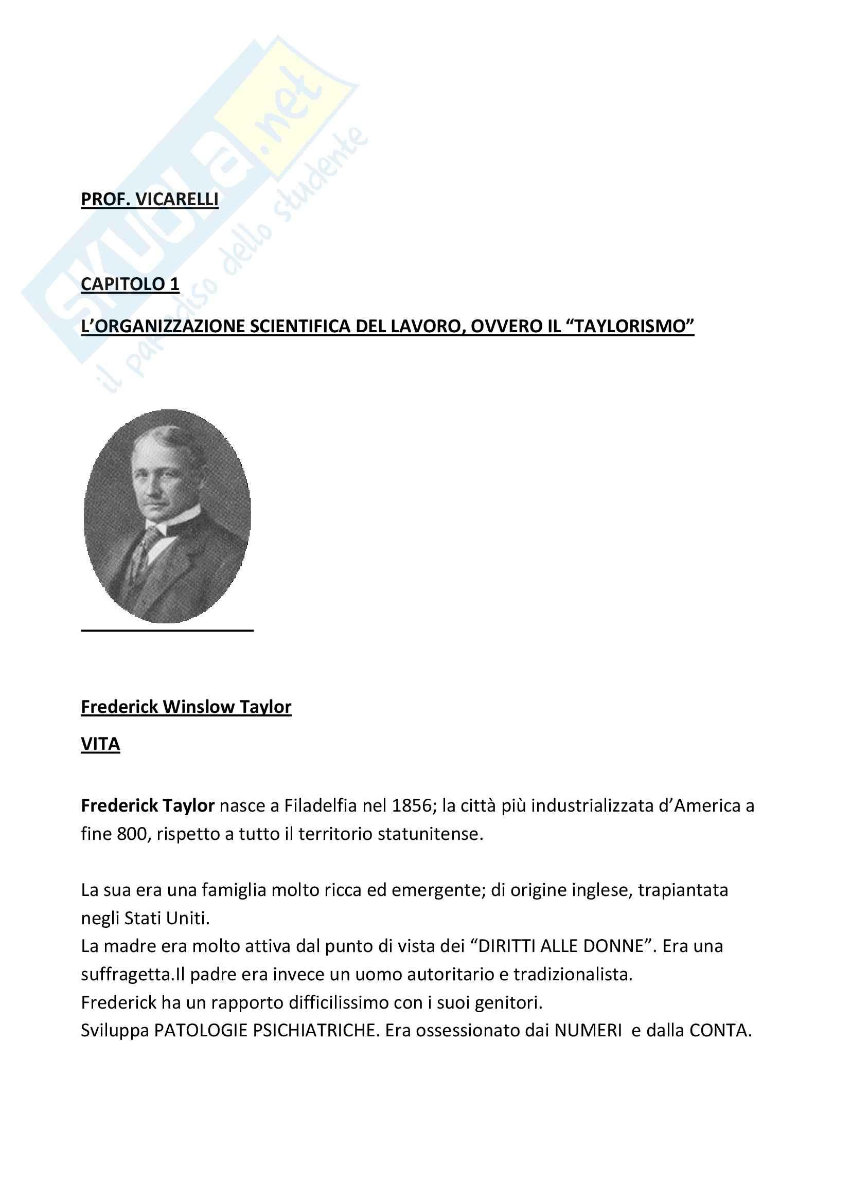 Riassunto esame Sociologia dell'Organizzazione, prof. Vicarelli, libro consigliato Storia del Pensiero Organizzativo, Bonazzi