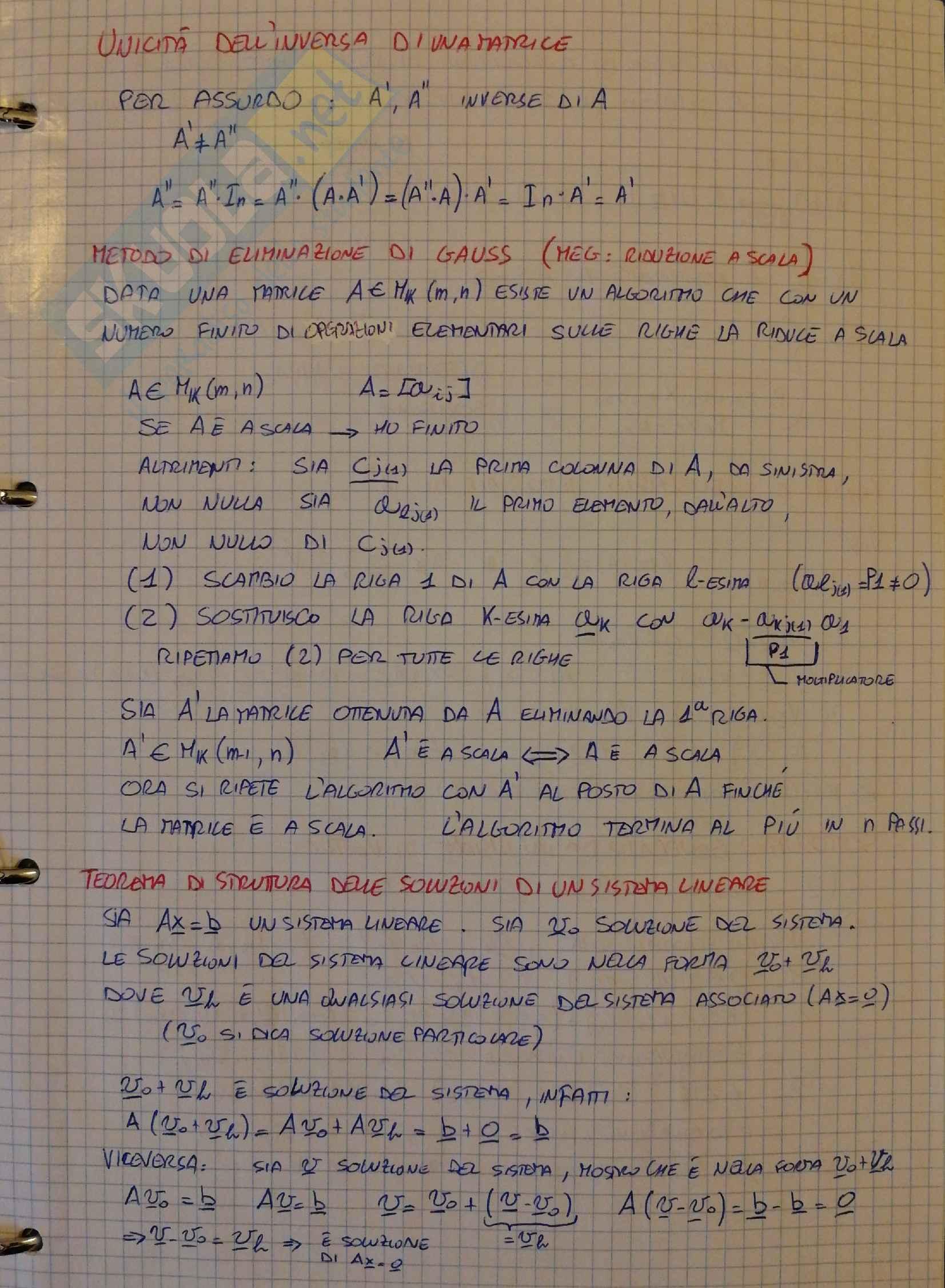 Raccolta Dimostrazioni di algebra Lineare e geometria analitica