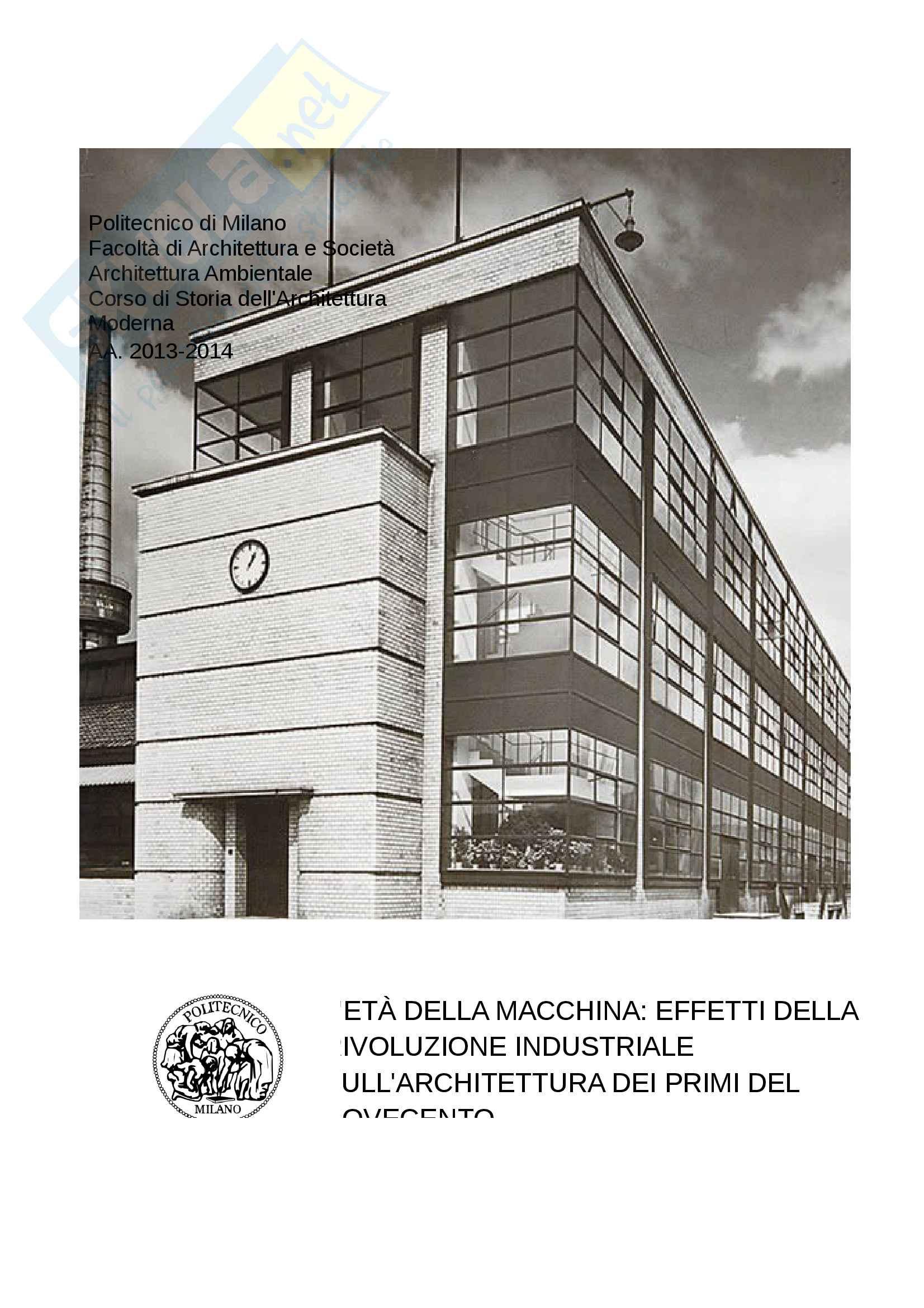 L'età della macchina, effetti della rivoluzione industriale sull'architettura dei primi del Novecento
