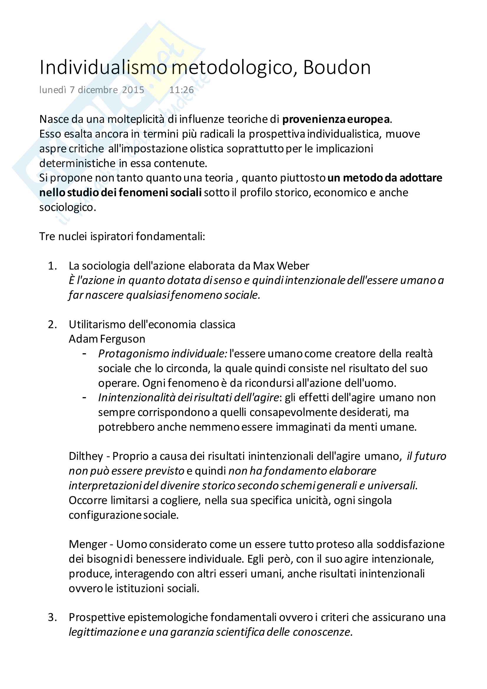 Appunti: Boudon, Individualismo metodologico. Esame di Sociologia Generale, Prof. Rita Bichi
