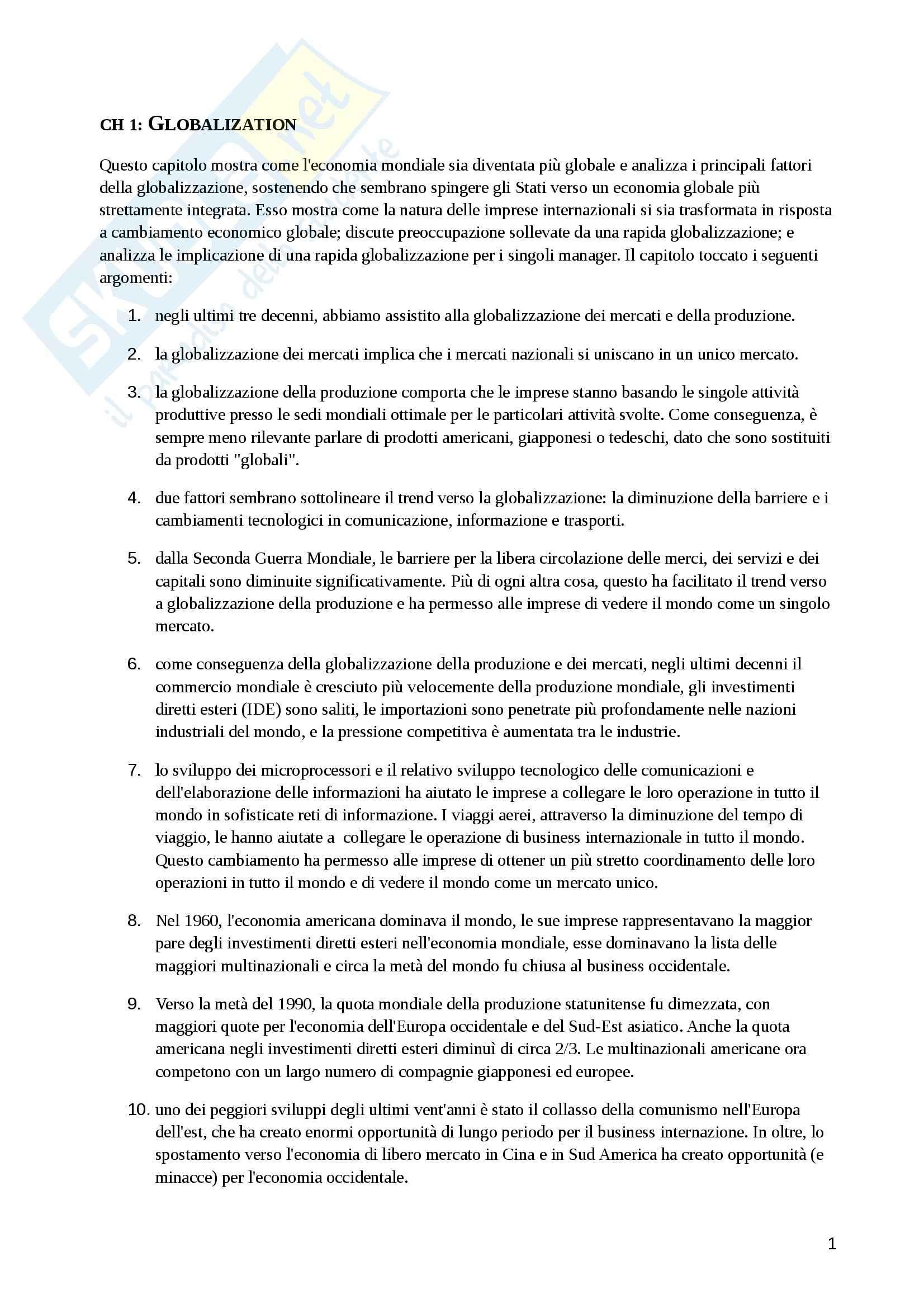 appunto A. Baroncelli Internazionalizzazione dei mercati e delle imprese internazionali