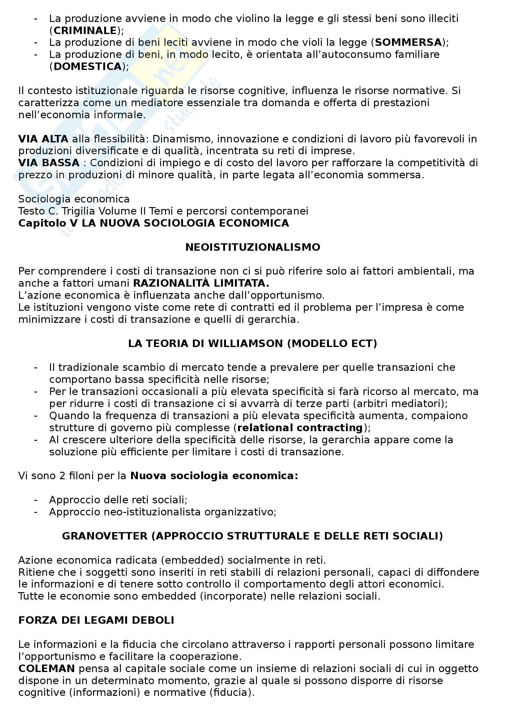Riassunto esame Sociologia economica, prof. Pavolini, libro consigliato Sociologia economica,Volume II, Trigilia Pag. 6