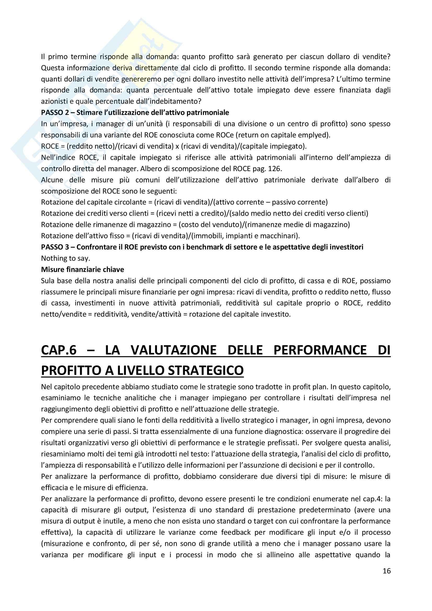Riassunto esame Performance Measurement, prof. Dossi, libro consigliato Sistemi di controllo e misure di performance, Simons Pag. 16