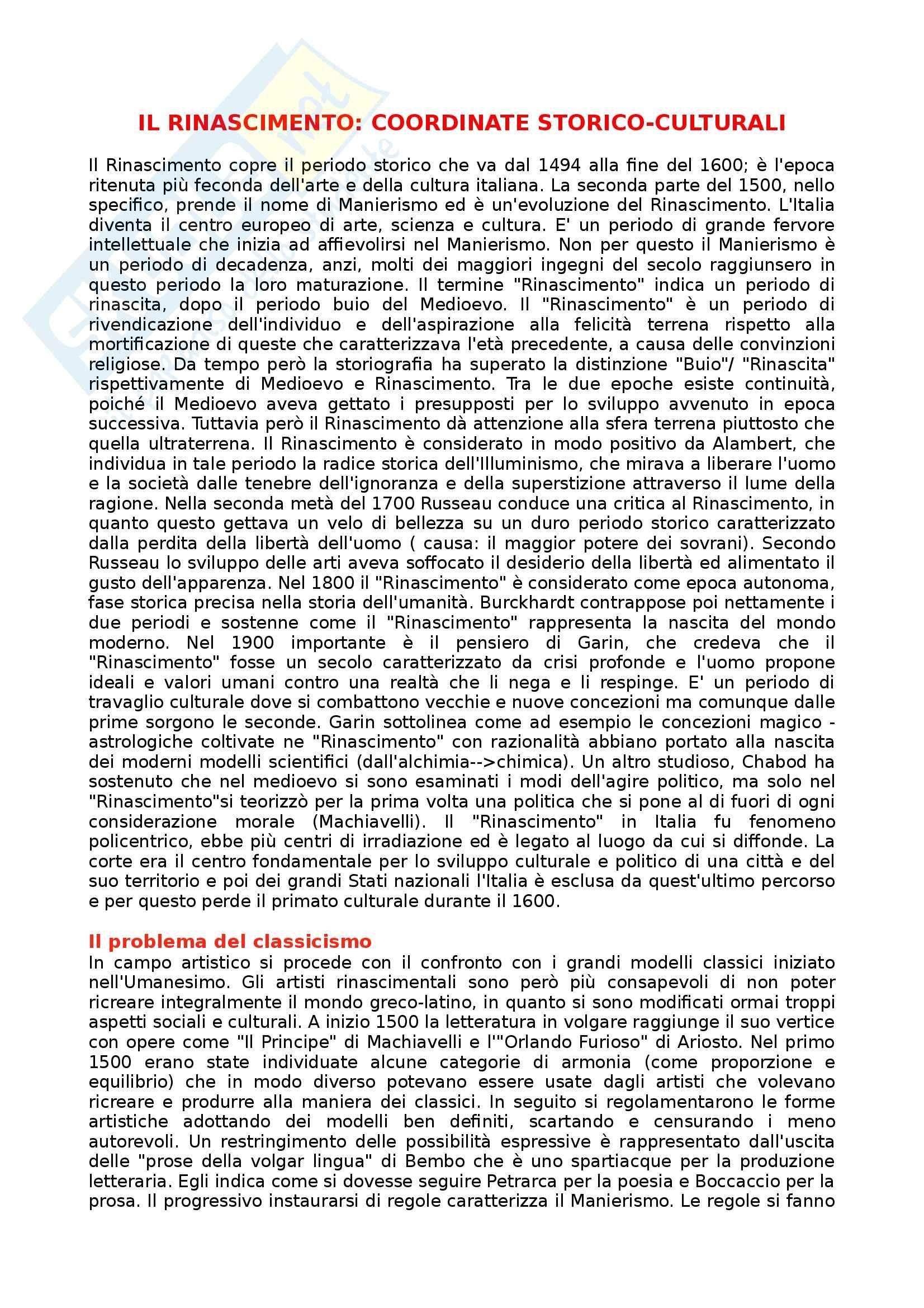 Riassunto esame Letteratura Italiana, prof. Gentili, libro consigliato Manuale di Letteratura Italiana Medievale e Moderna, Casadei, Santagata