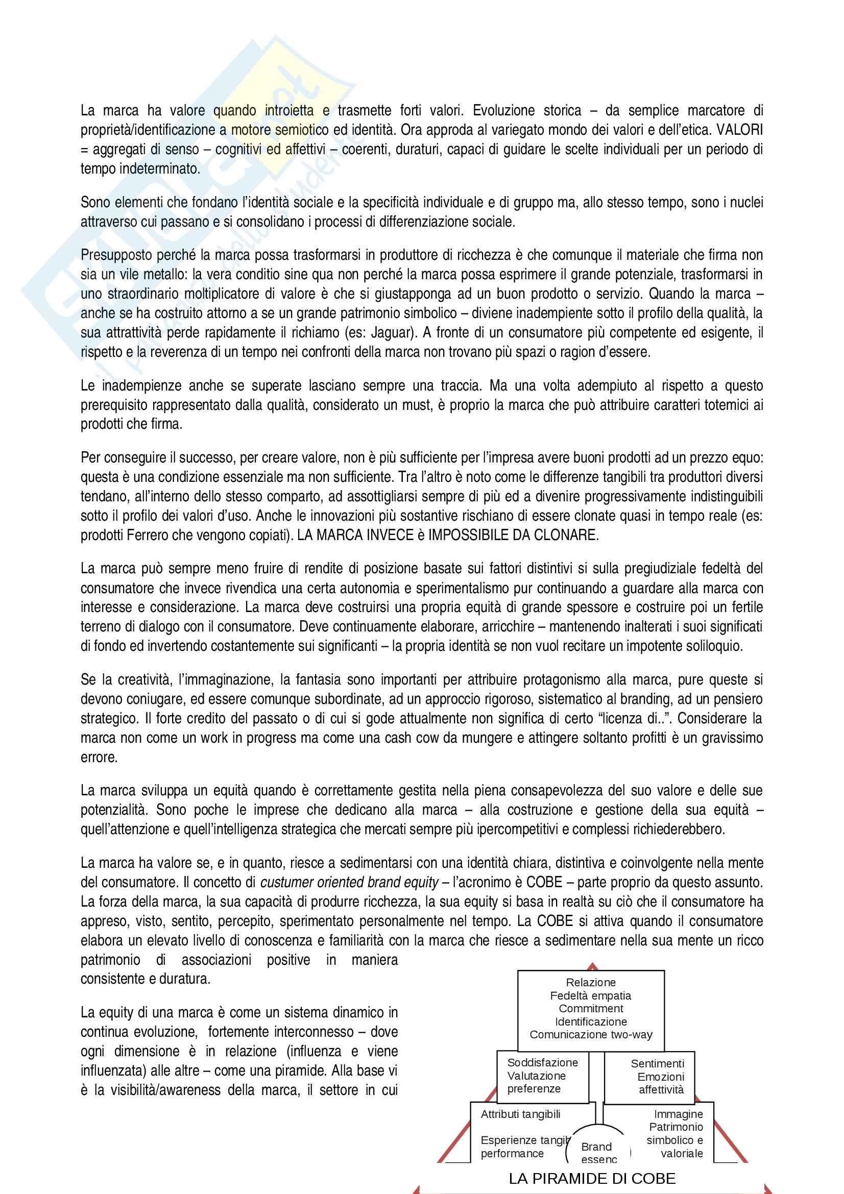 Riassunto esame Brand Design, Valori e Valore della marca, Fabris, Minestroni, prof. Pontonio