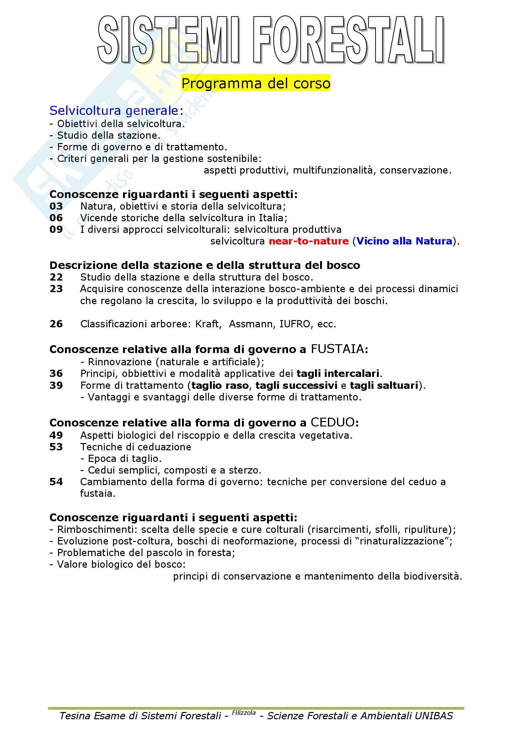 Selvicoltura generale e sistemi forestali - Appunti