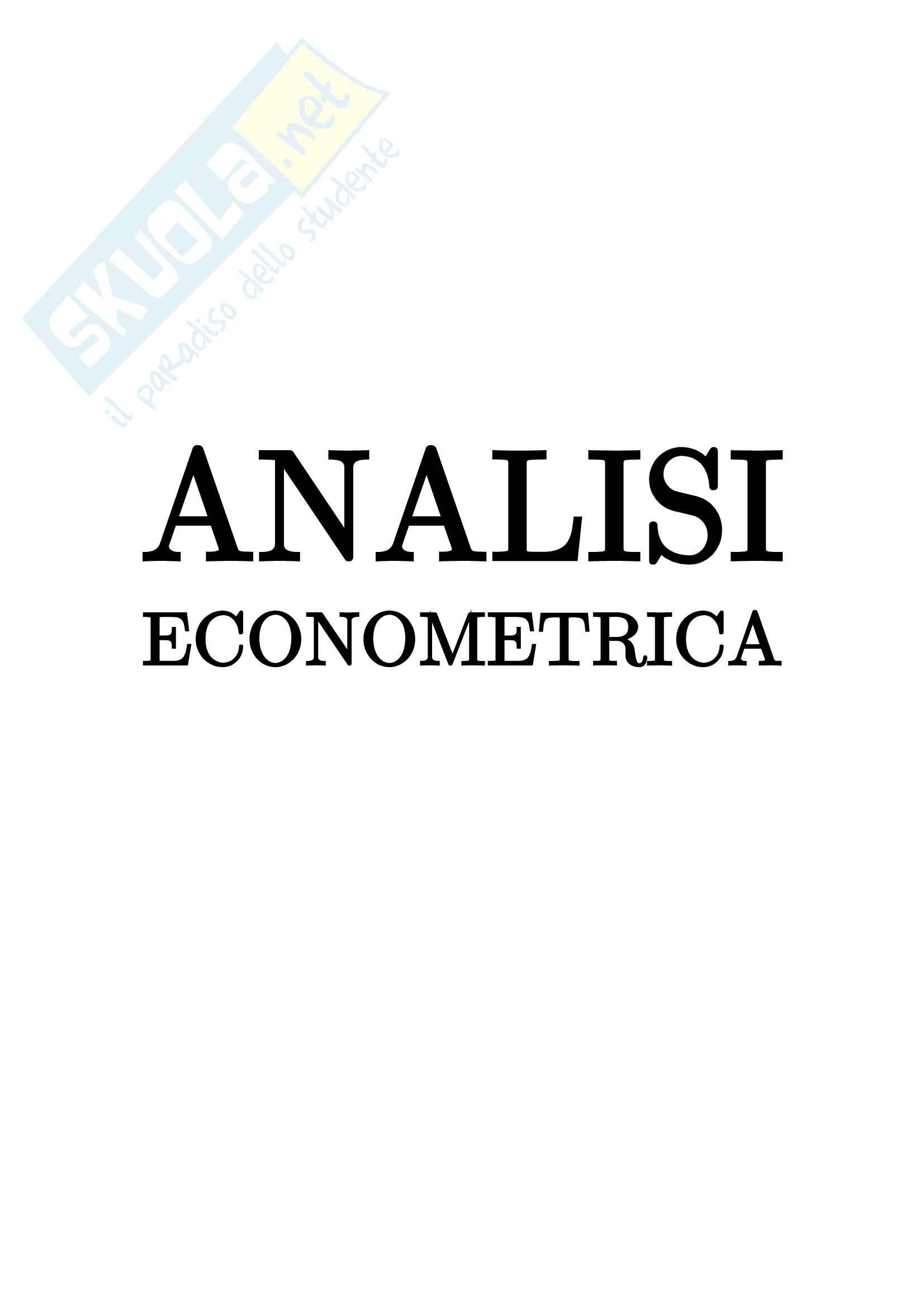 Econometria - analisi econometrica Pag. 1